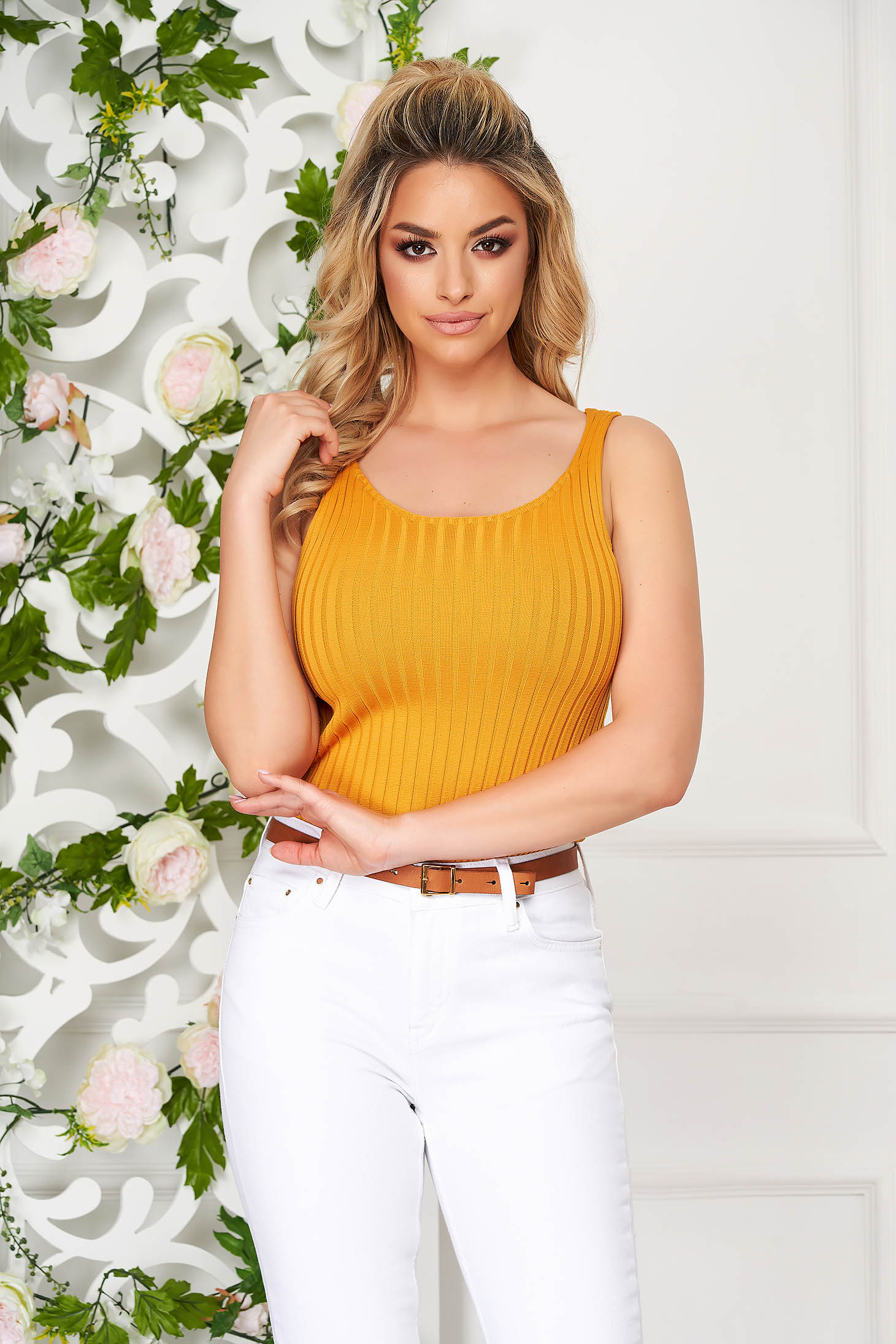 Casual short cut knitted thin straps with rounded cleavage mustard top shirt