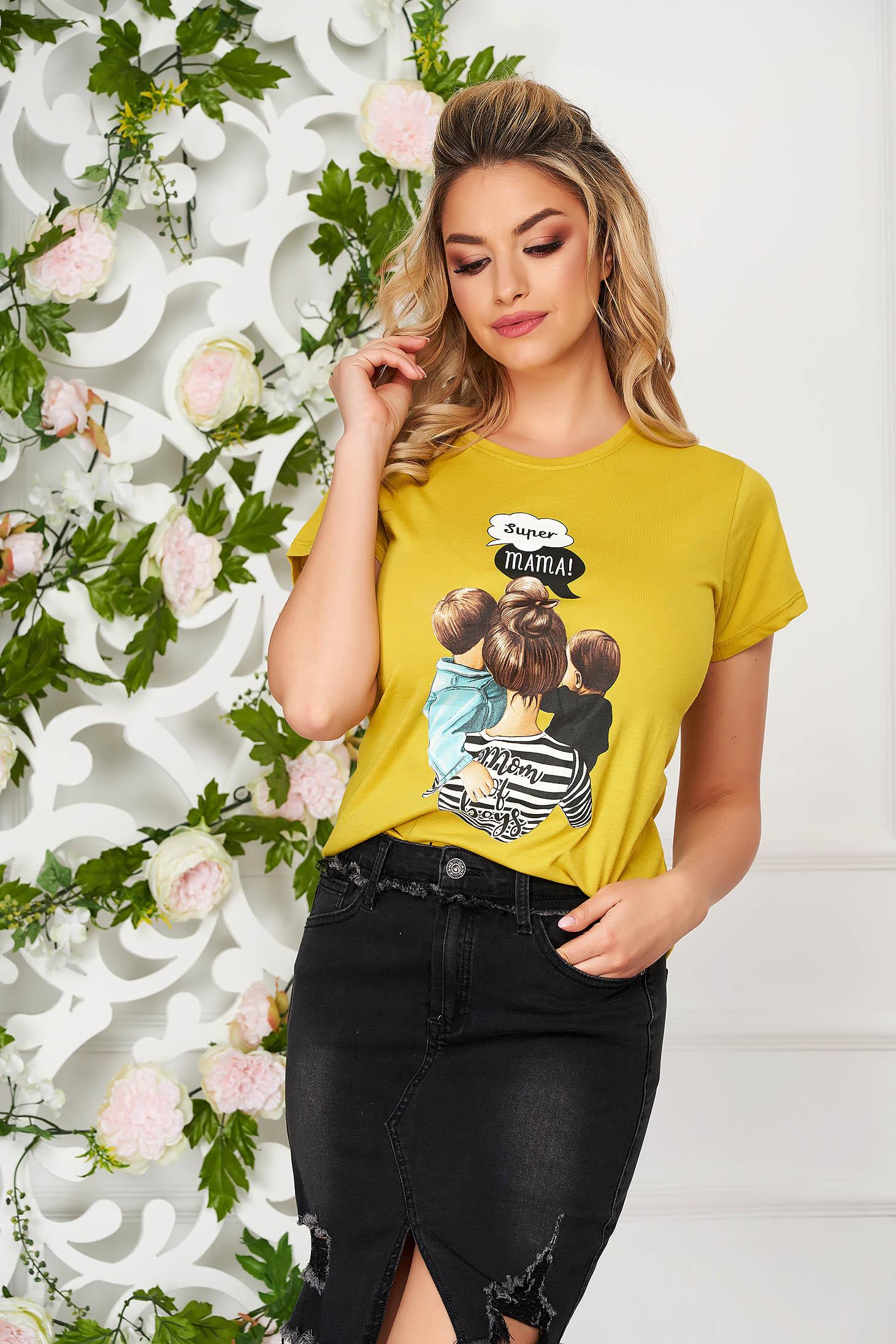 Tricou SunShine galben casual mulat din bumbac cu imprimeuri grafice
