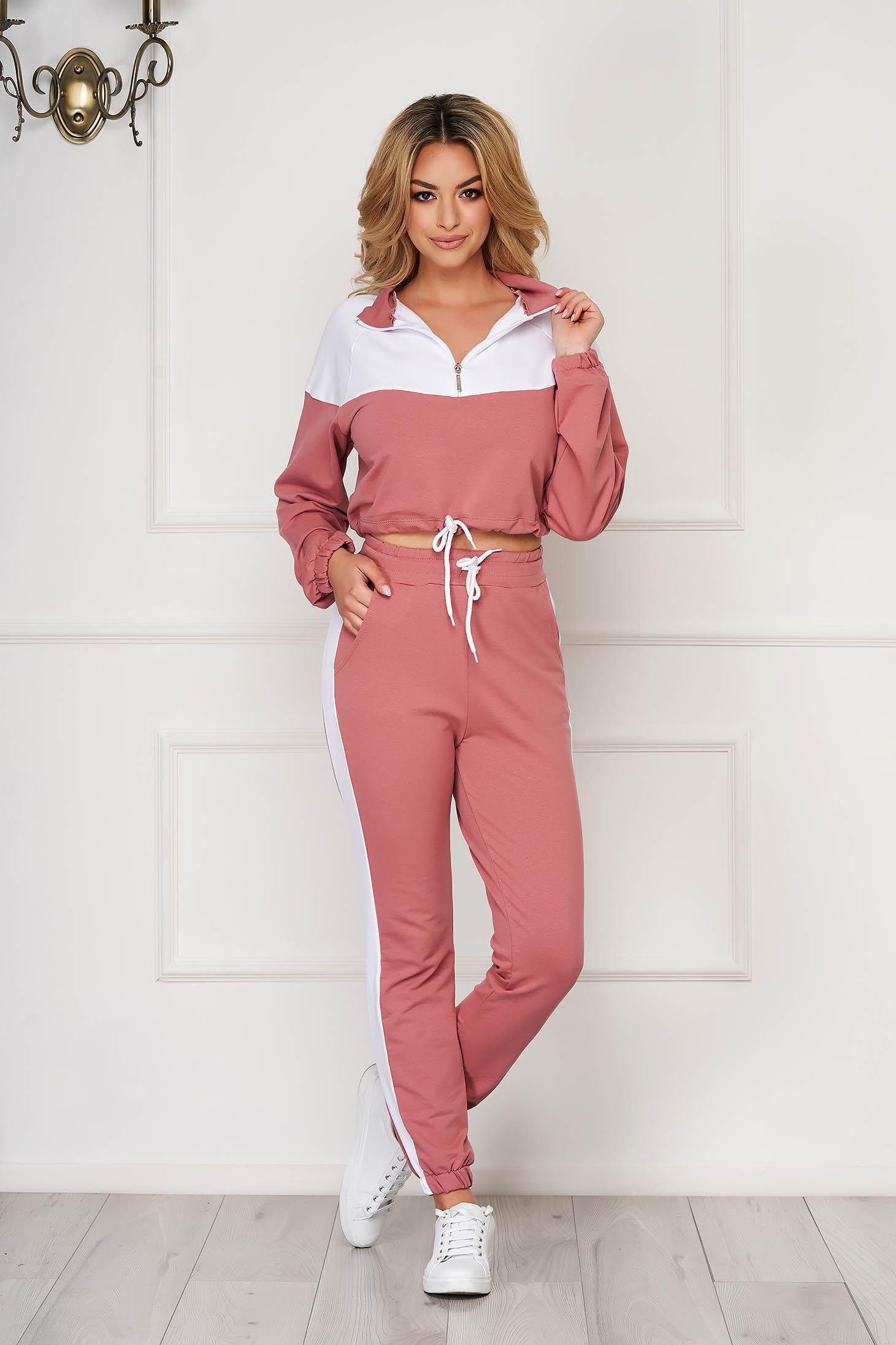 Trening dama SunShine roz prafuit sport din doua piese cu pantaloni din bumbac