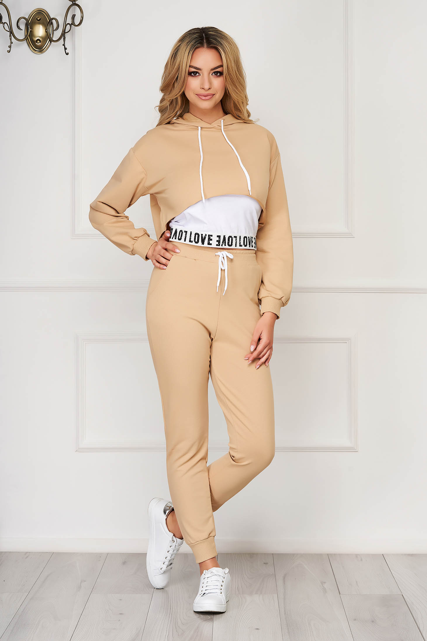 Cream sport 2 pieces sporty from two pieces with trousers high waisted