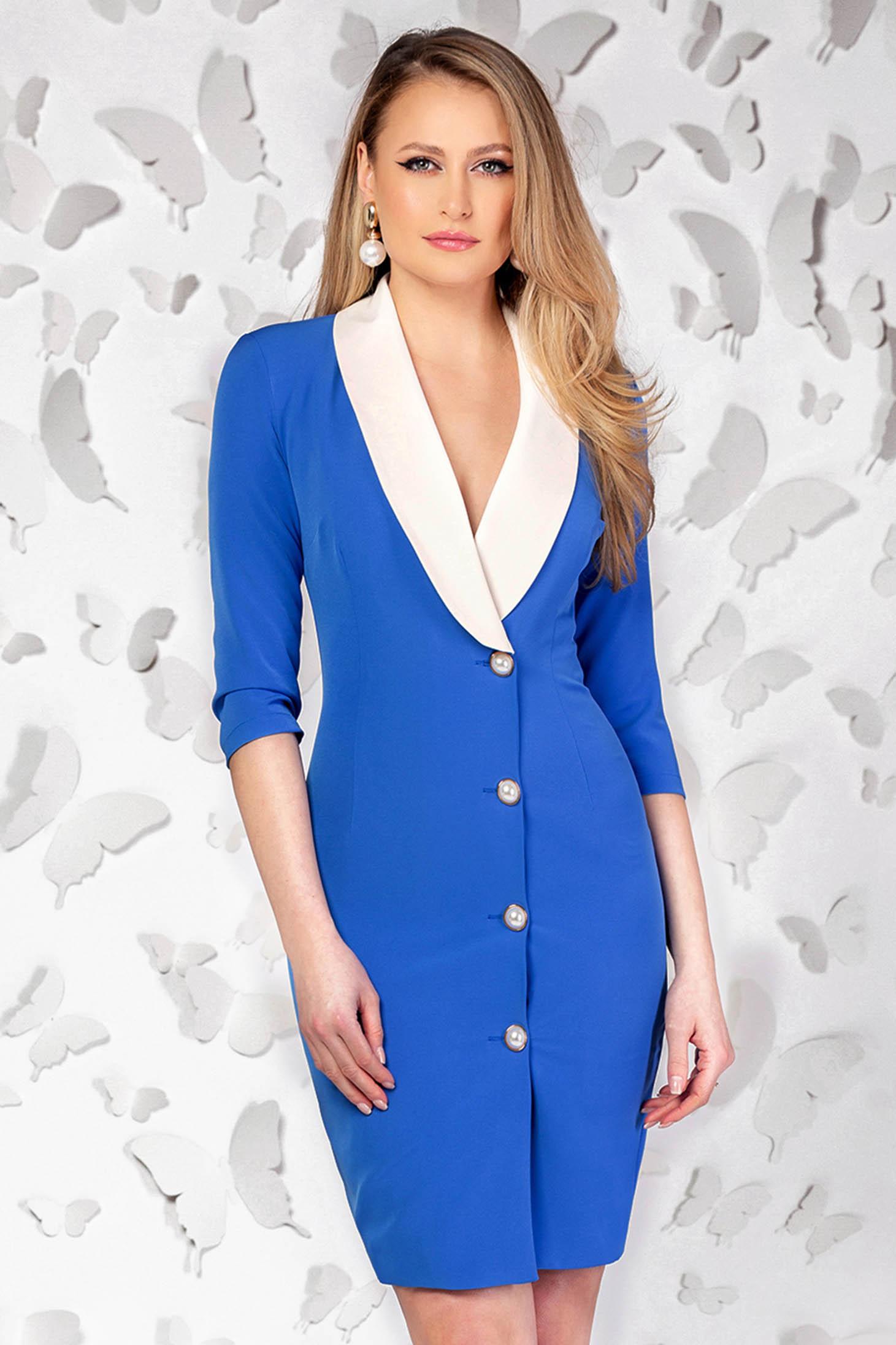 Rochie PrettyGirl albastra eleganta scurta tip creion cu decolteu in v accesorizata cu nasturi