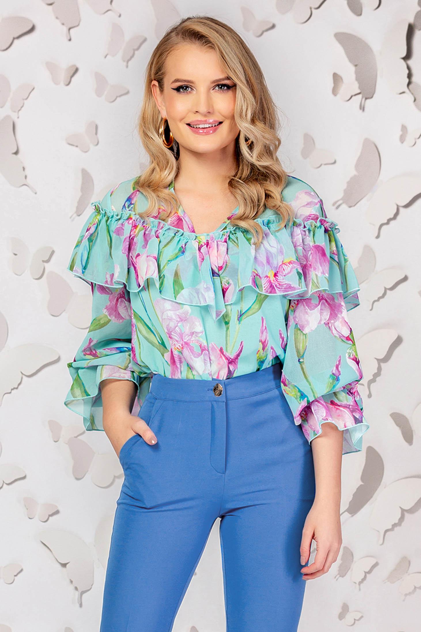 Bluza dama PrettyGirl turcoaz eleganta cu croi larg din material subtire cu volanase