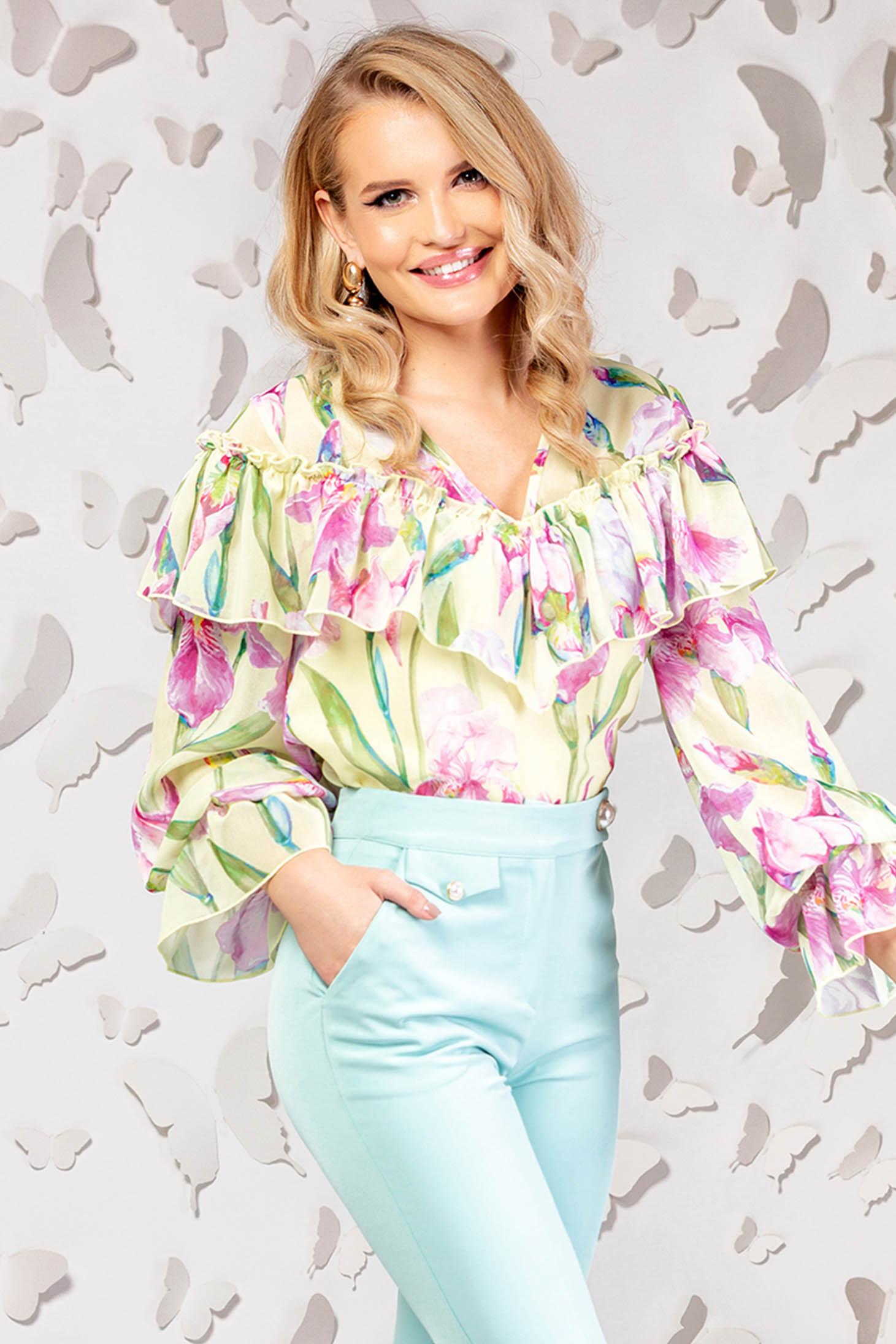 Bluza dama PrettyGirl galbena eleganta cu croi larg din material subtire cu volanase