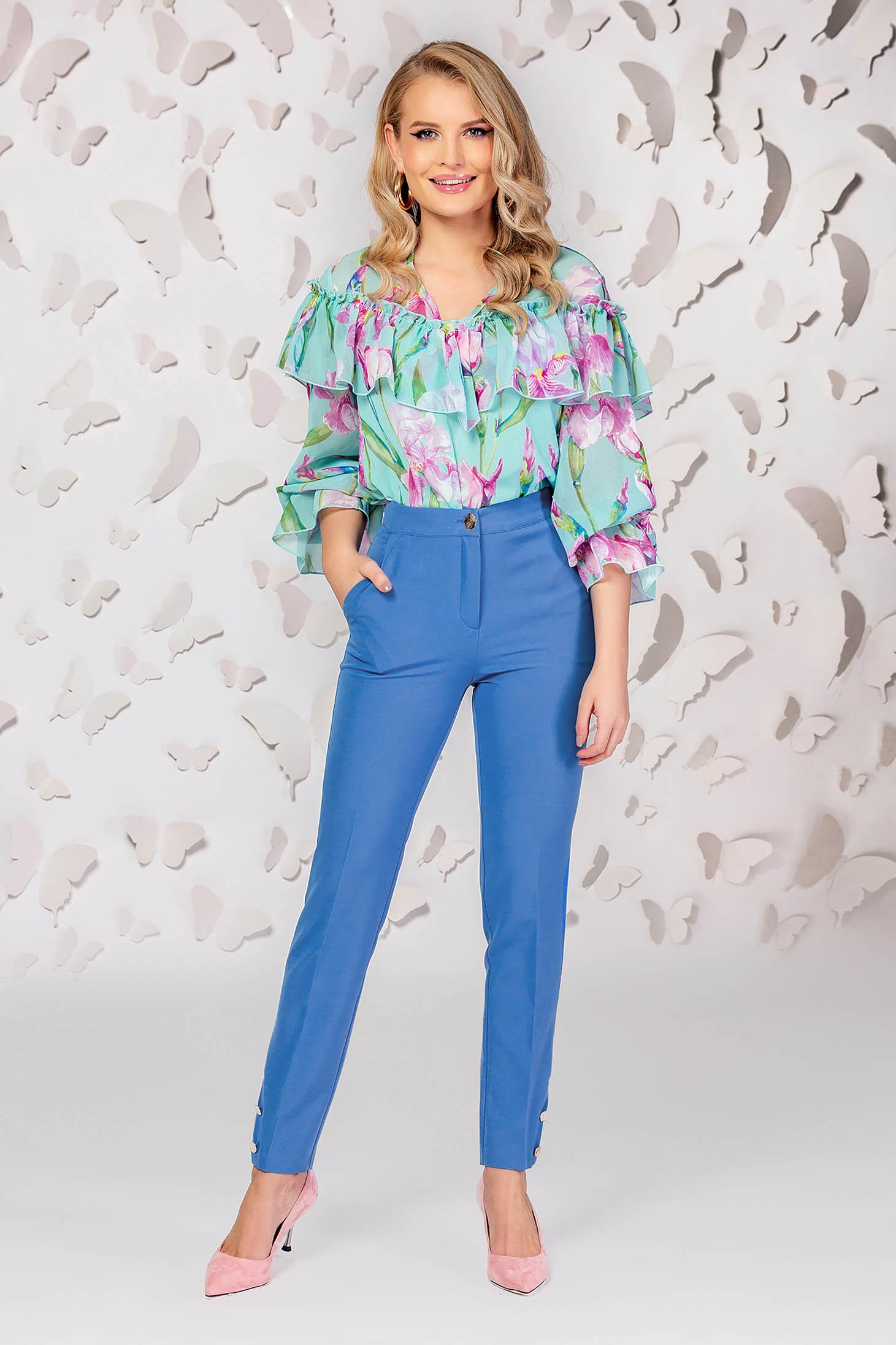Blue trousers elegant straight medium waist with pockets