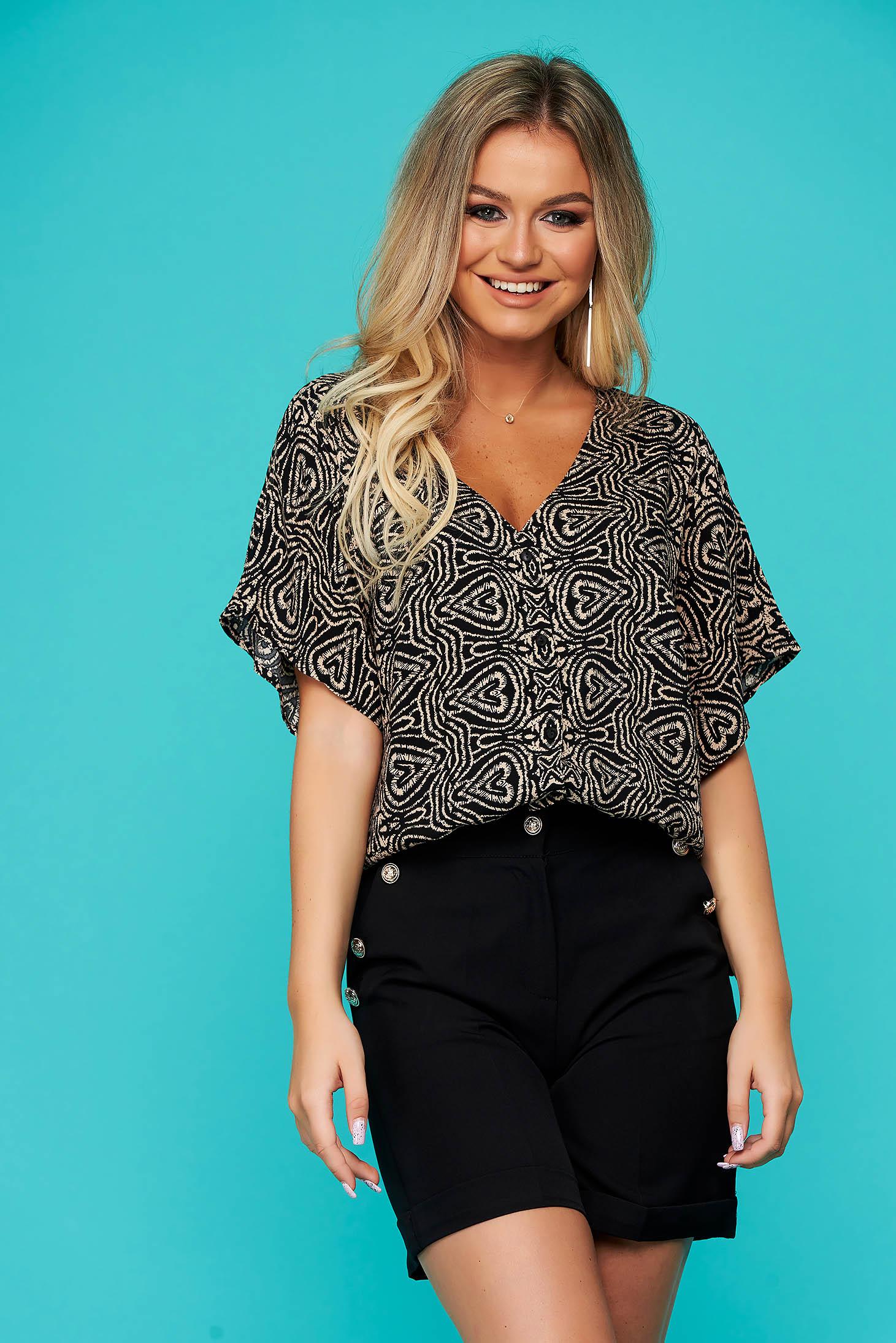 Bluza dama Top Secret neagra casual cu croi larg si imprimeuri grafice