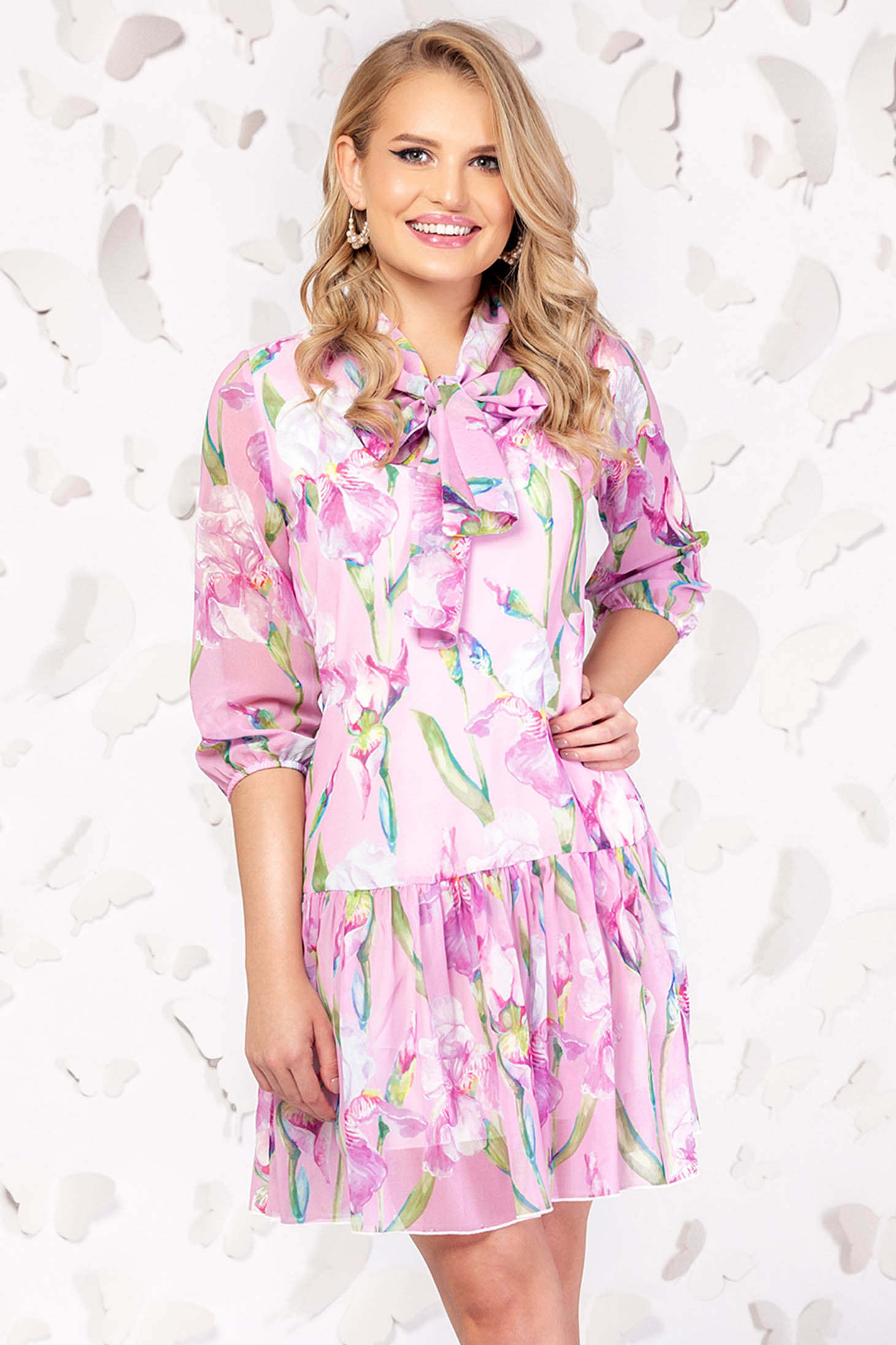 Pink dress elegant daily short cut cloche with 3/4 sleeves thin fabric