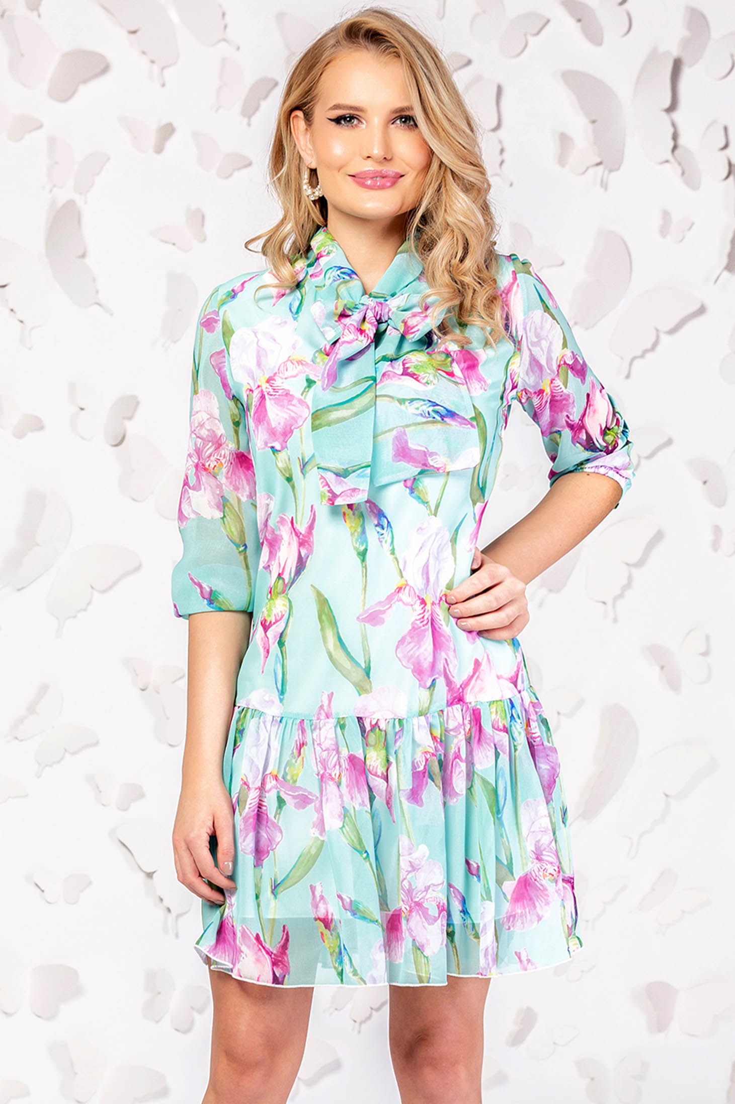 Mint dress elegant daily short cut cloche with 3/4 sleeves thin fabric