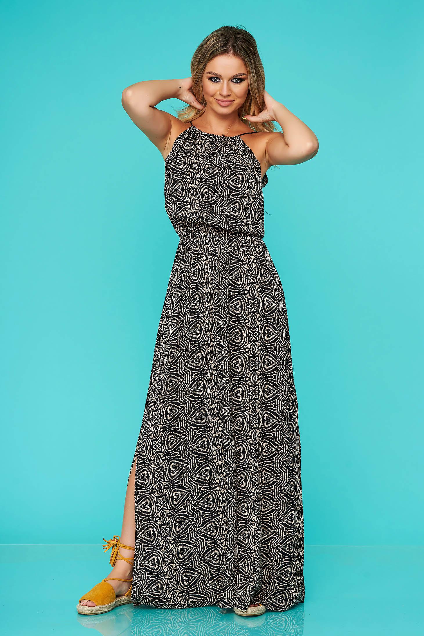 Black dress casual long cloche sleeveless with elastic waist