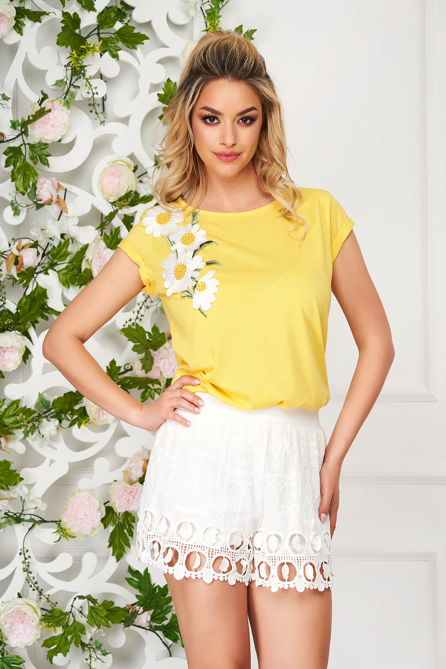 StarShinerS yellow t-shirt casual flared embroidered short sleeves