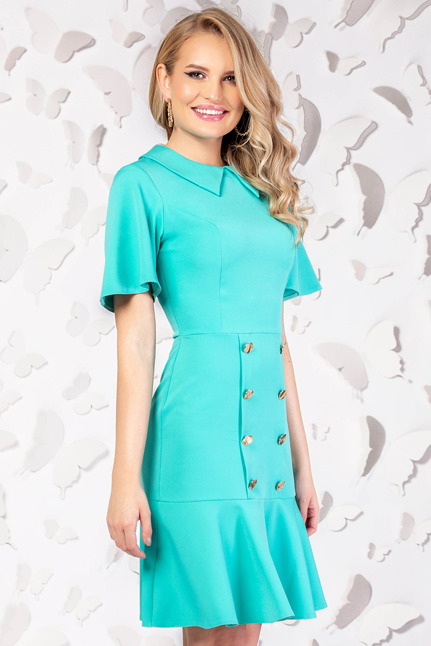 Turquoise dress elegant cloche short cut with button accessories large sleeves