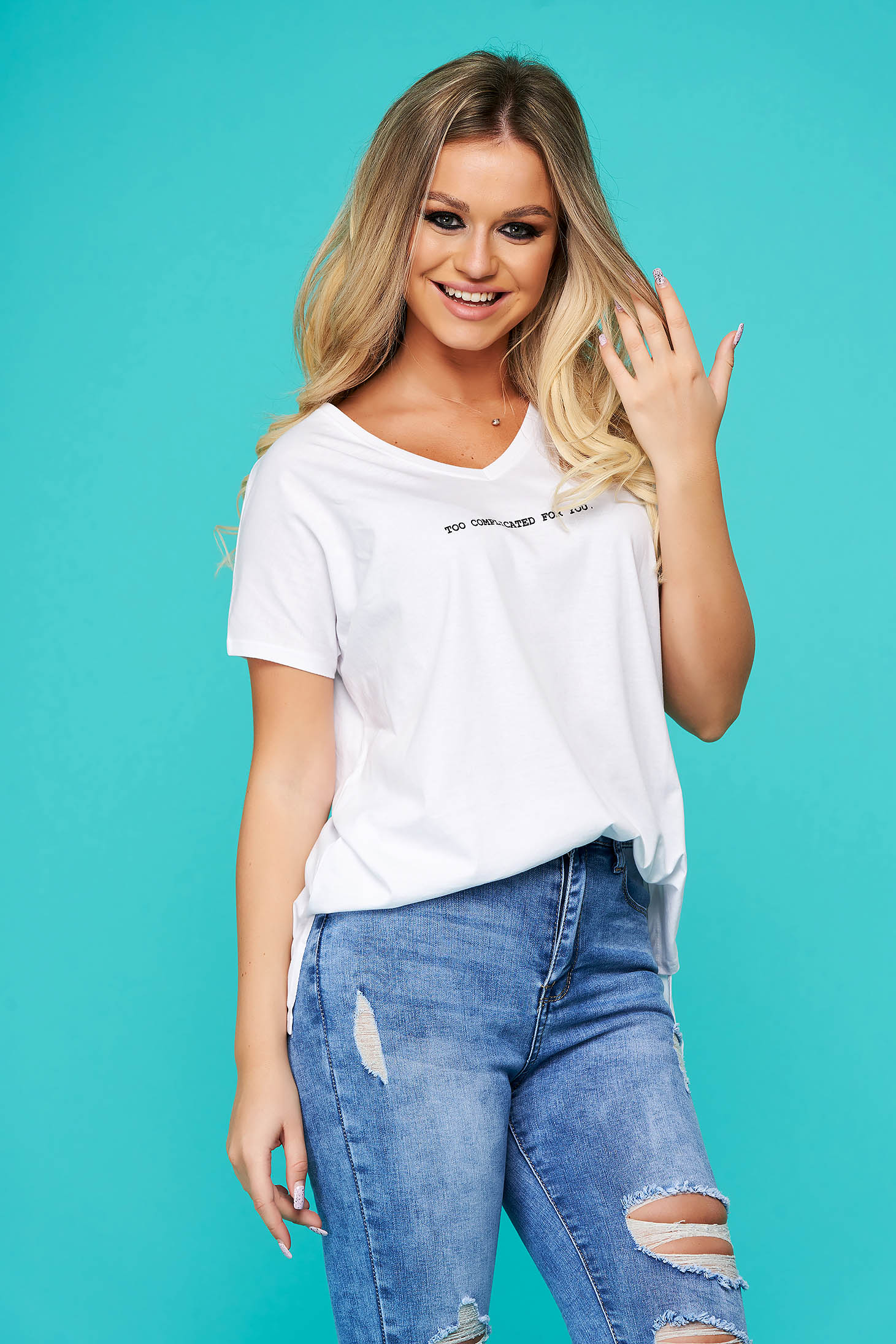 White t-shirt casual flared cotton with v-neckline