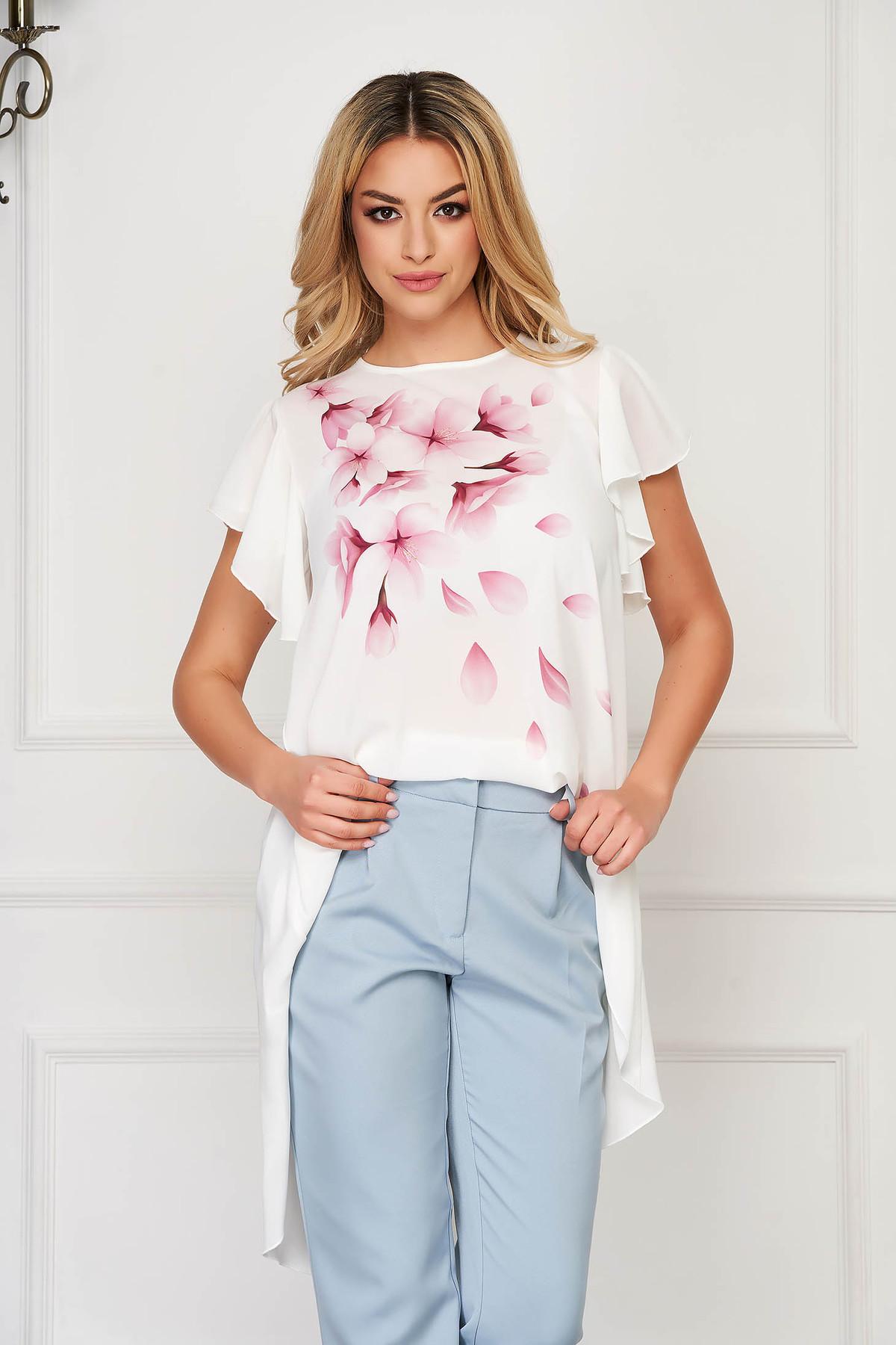Bluza dama StarShinerS alba eleganta asimetrica din muszlin cu imprimeu custom made in atelierele StarShinerS