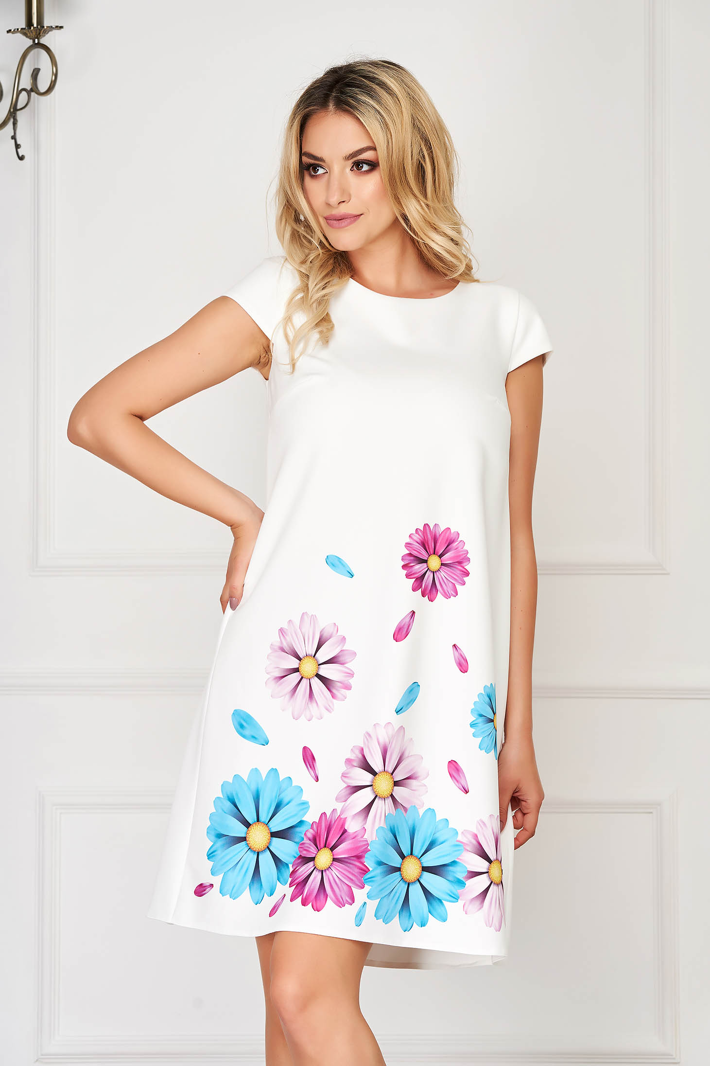 Dress StarShinerS lightblue elegant short cut cloth slightly elastic fabric with floral print