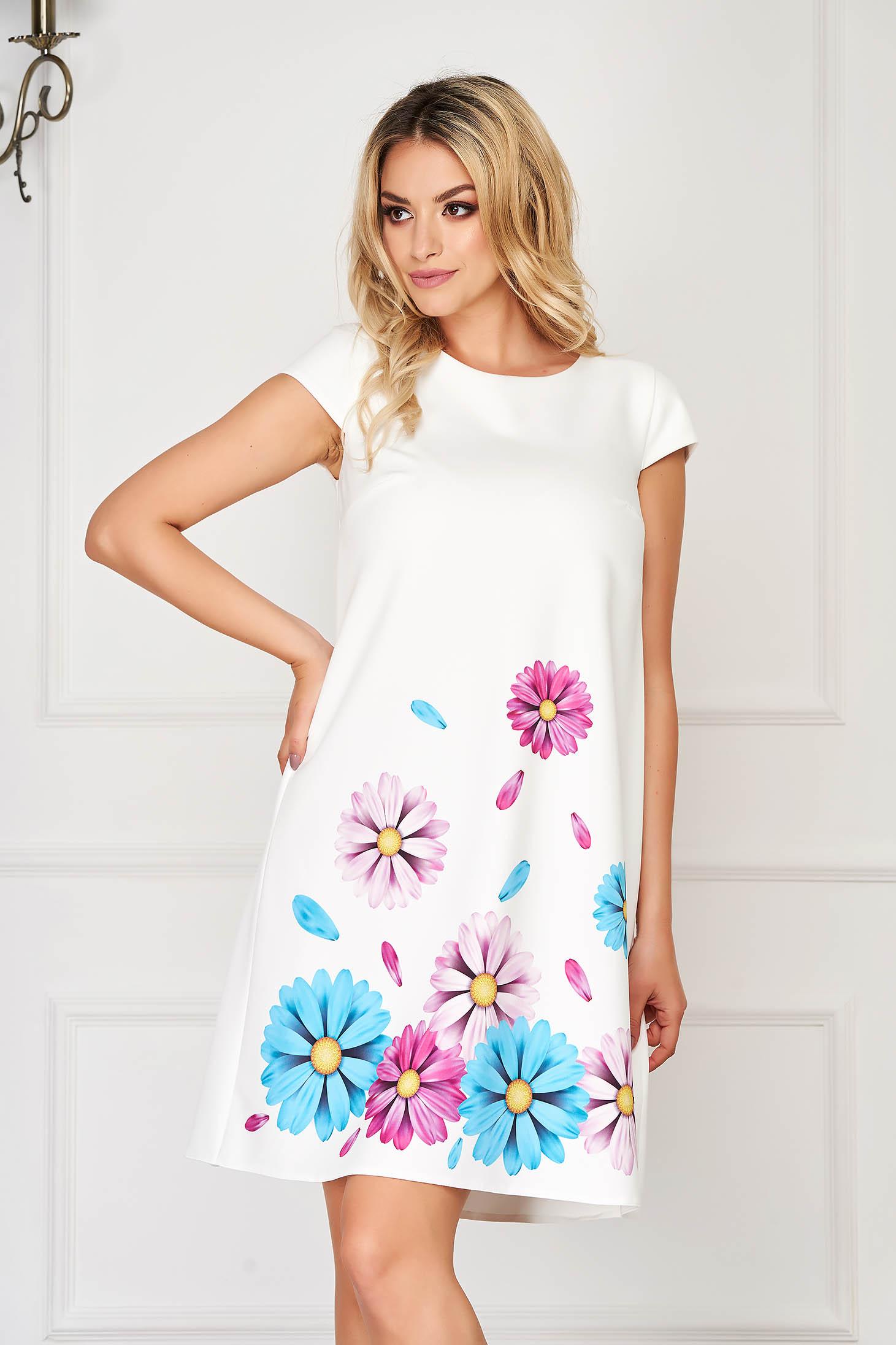 Rochie StarShinerS alba eleganta scurta din stofa elastica cu imprimeu floral customizat