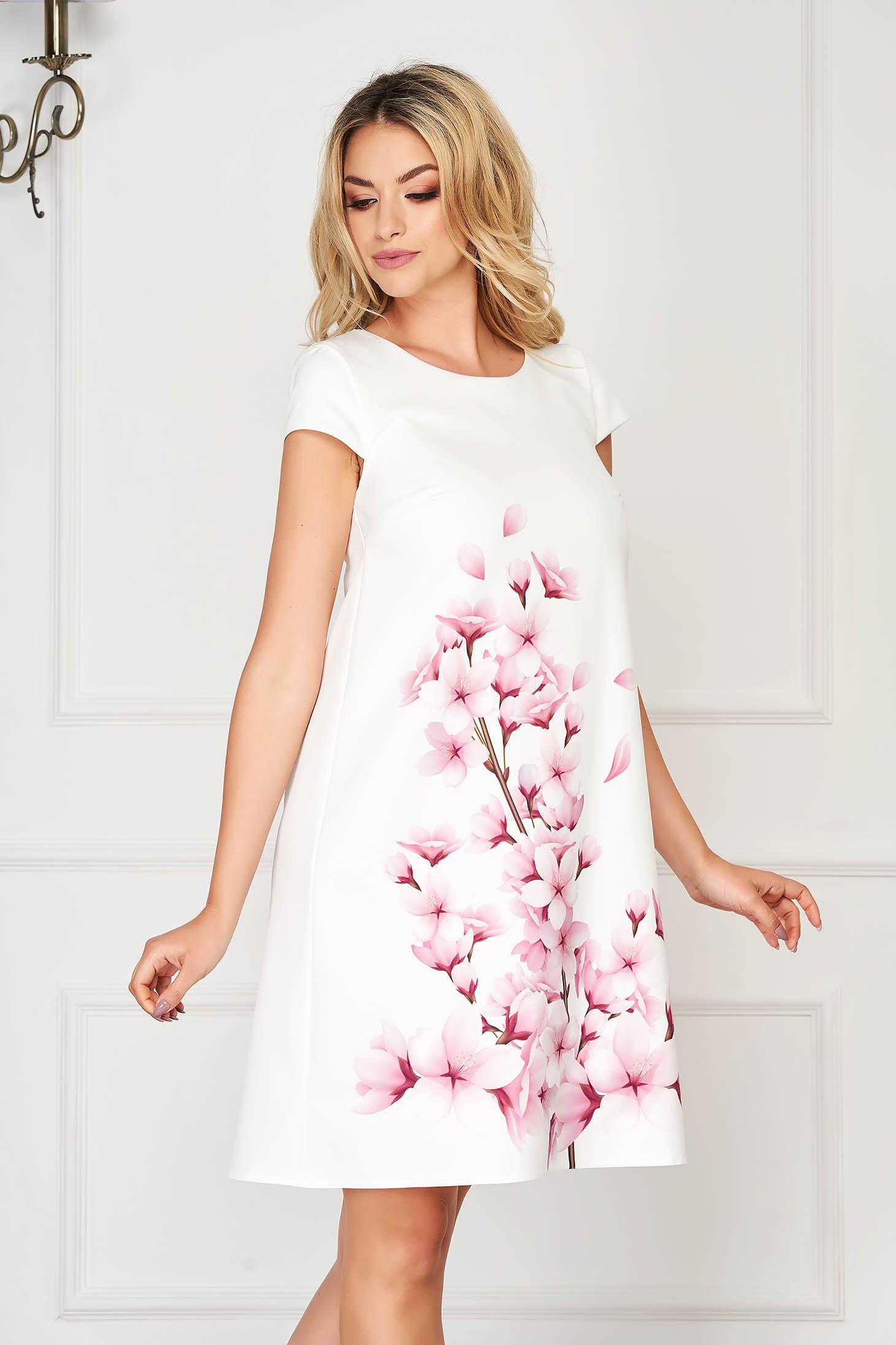 Dress StarShinerS lightpurple elegant short cut cloth slightly elastic fabric with floral print