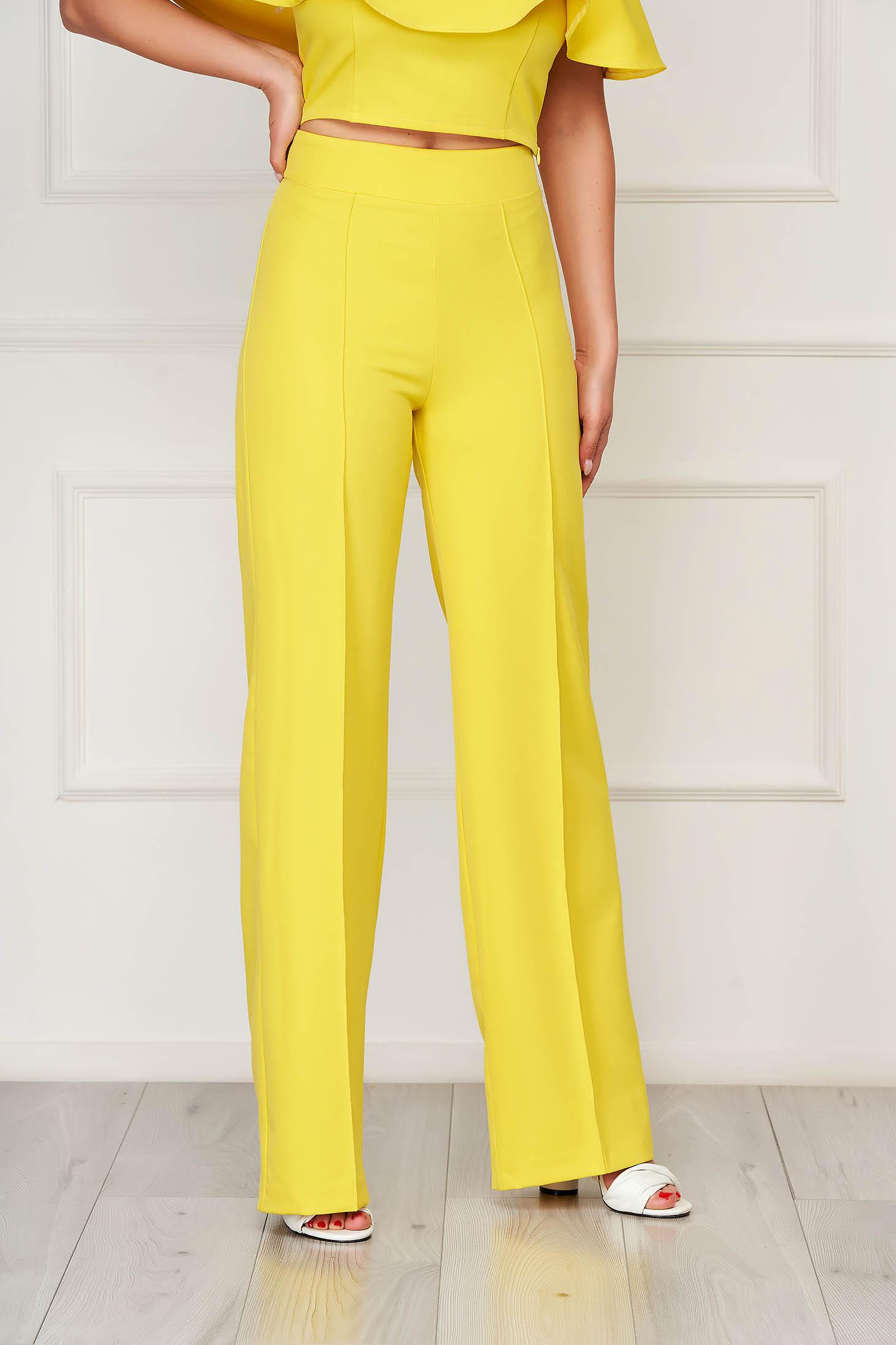 Pantaloni StarShinerS galbeni eleganti lungi evazati din stofa din material elastic