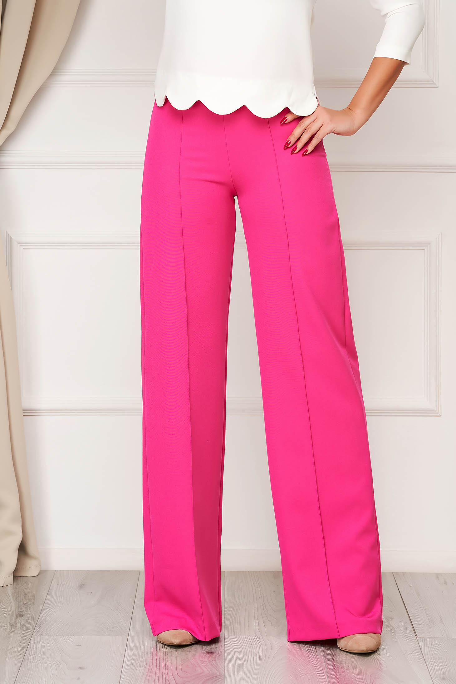 Fukszia StarShinerS elegáns hosszú bővülő nadrág rugalmas szövetből
