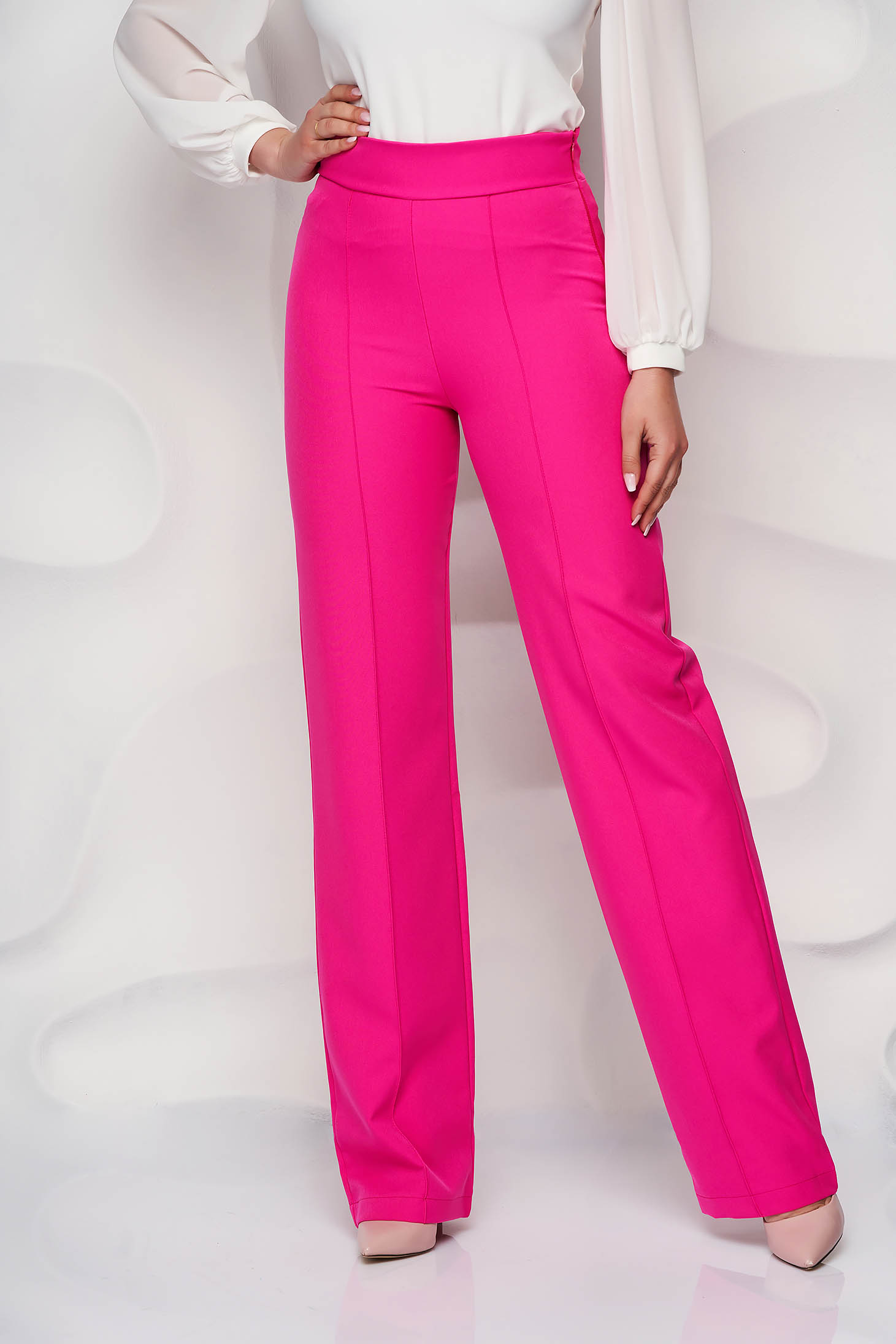 Pantaloni StarShinerS fuchsia eleganti lungi evazati din stofa din material elastic