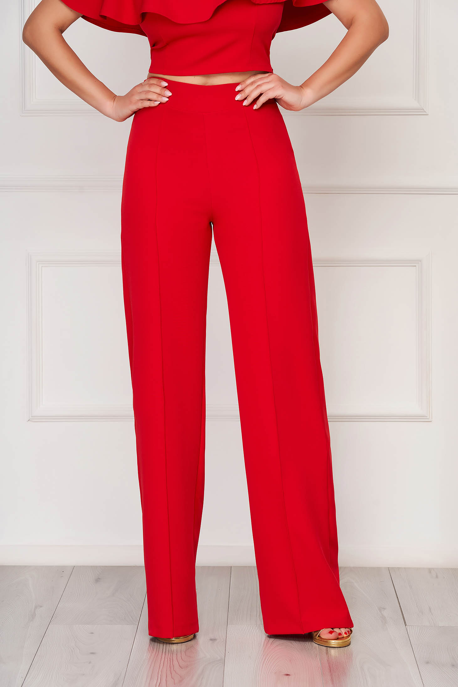 Pantaloni StarShinerS rosii eleganti lunga evazati din stofa din material elastic