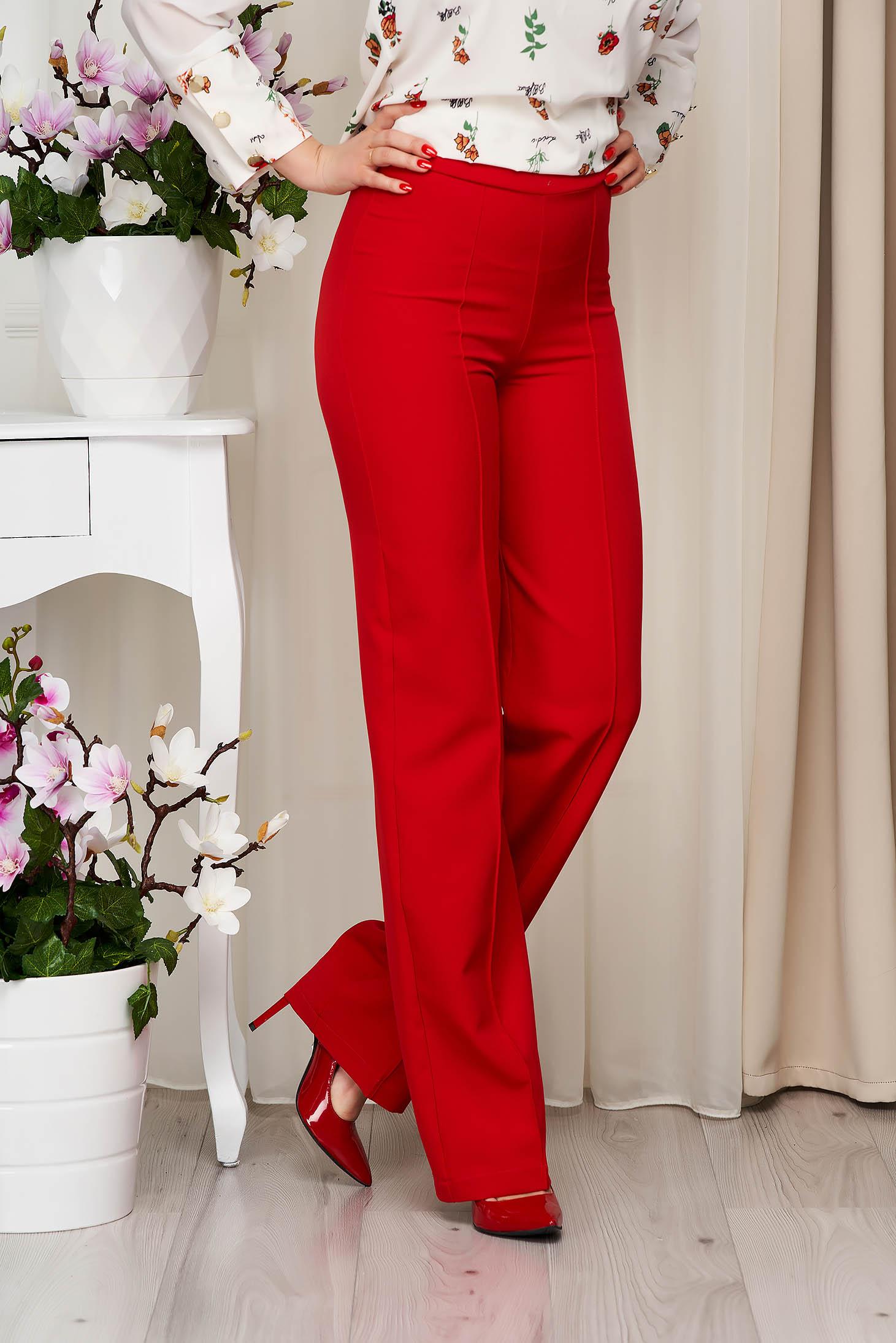 Pantaloni StarShinerS rosii eleganti lungi evazati din stofa din material elastic