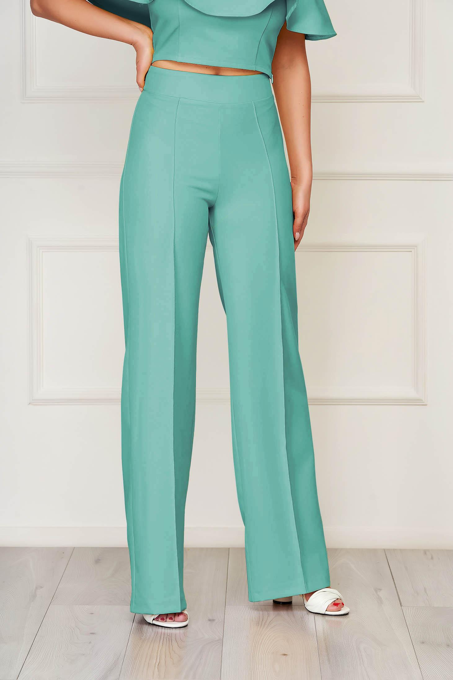 Zöld StarShinerS hosszú bővülő elegáns nadrág szövetből rugalmas anyagból