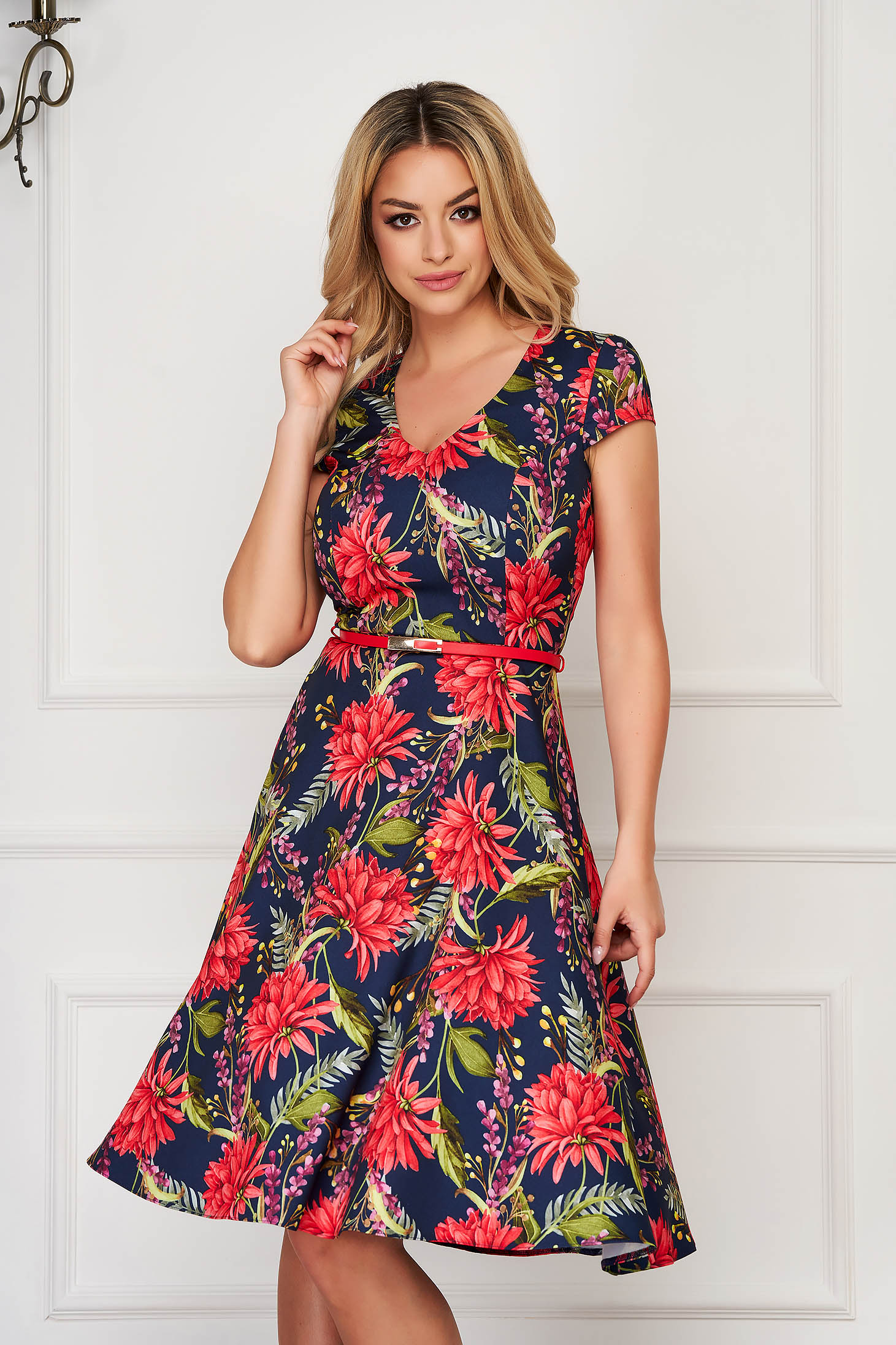StarShinerS darkblue dress midi daily cloche cloth with pockets