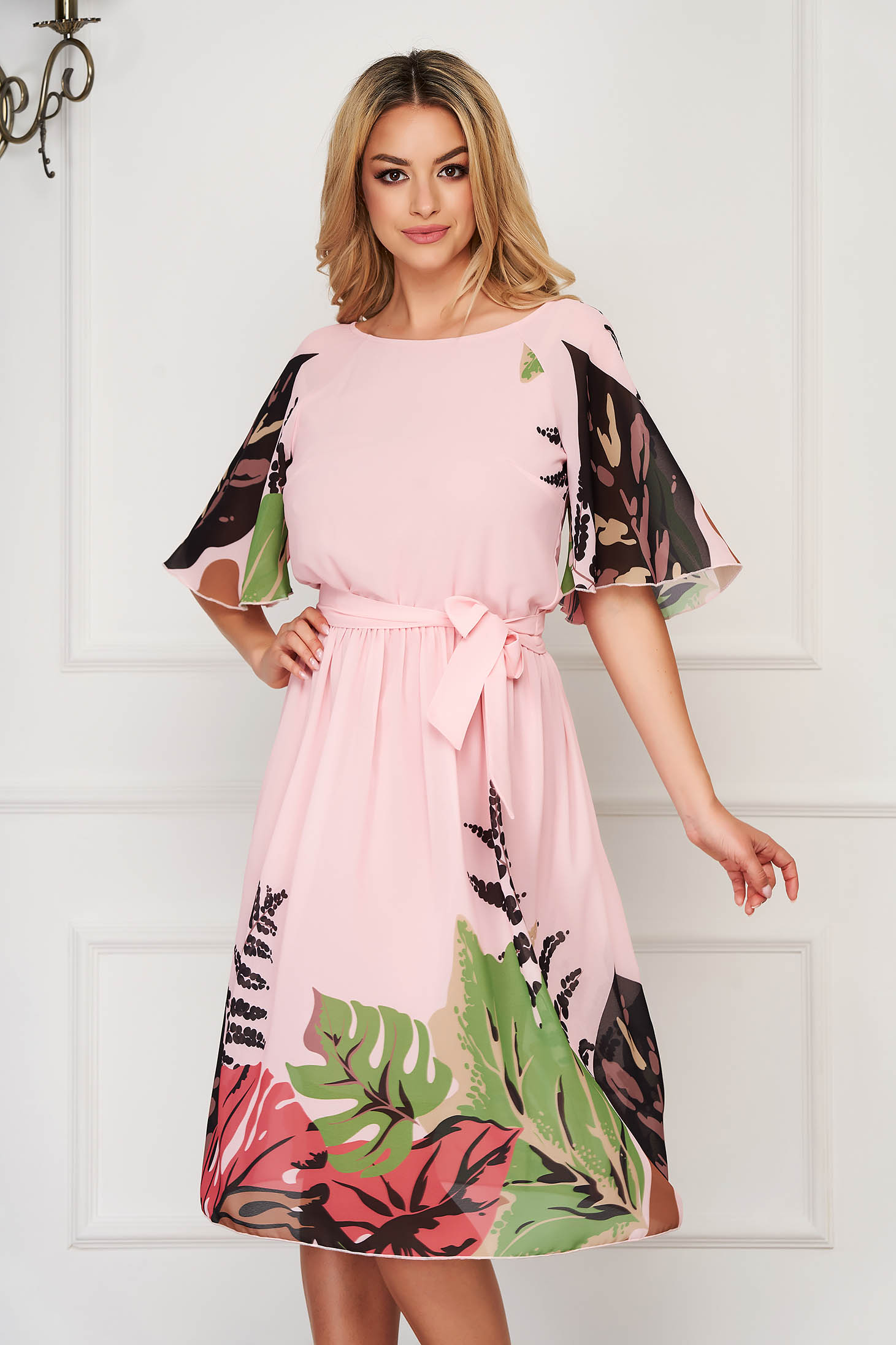StarShinerS lightpink dress elegant midi from veil fabric with butterfly sleeves