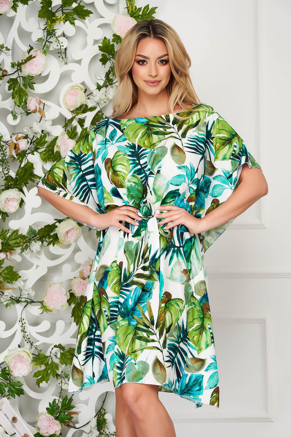 Rochie SunShine verde scurta cu croi larg din material subtire cu maneci tip fluture