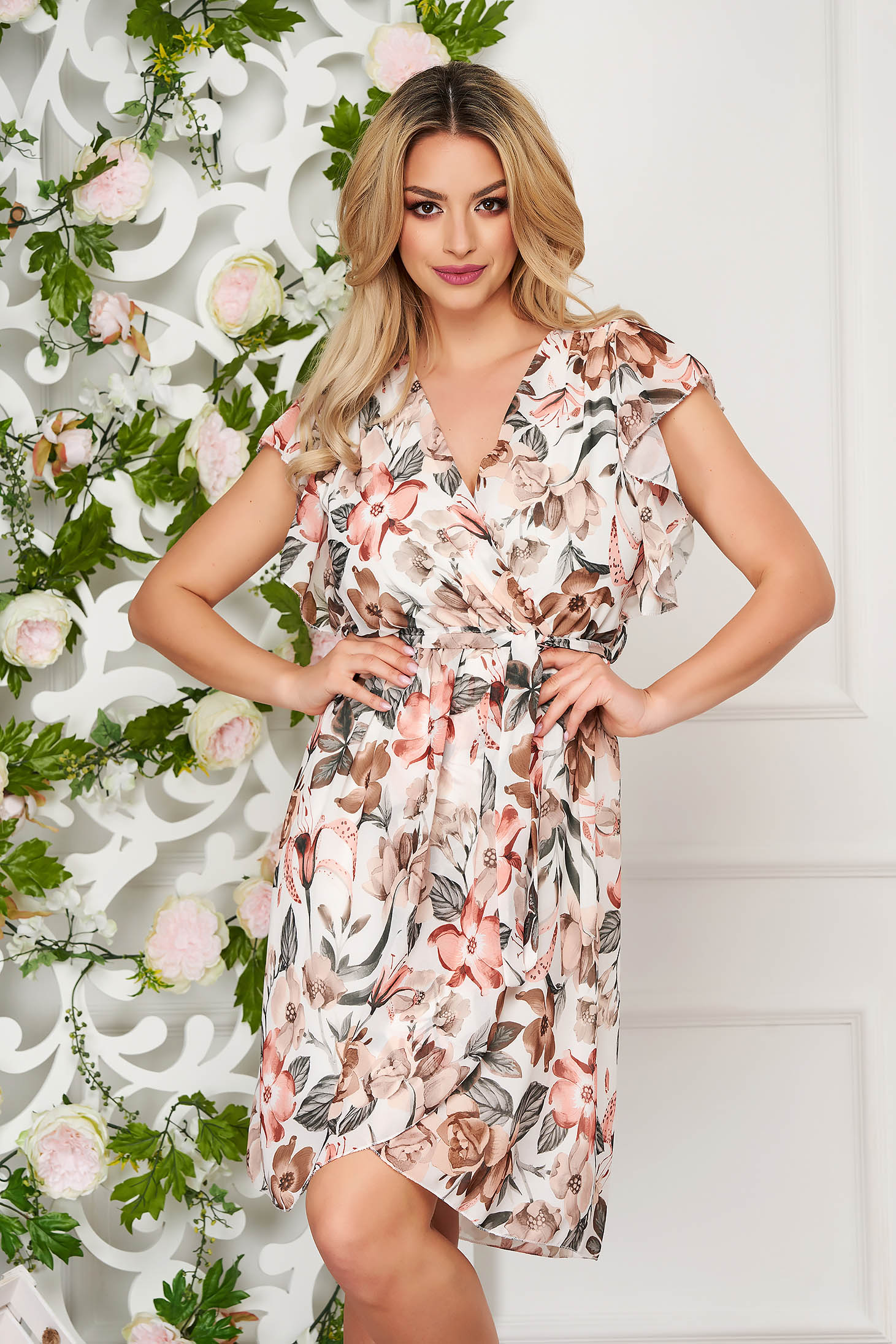Cream dress short cut daily cloche thin fabric wrap over skirt