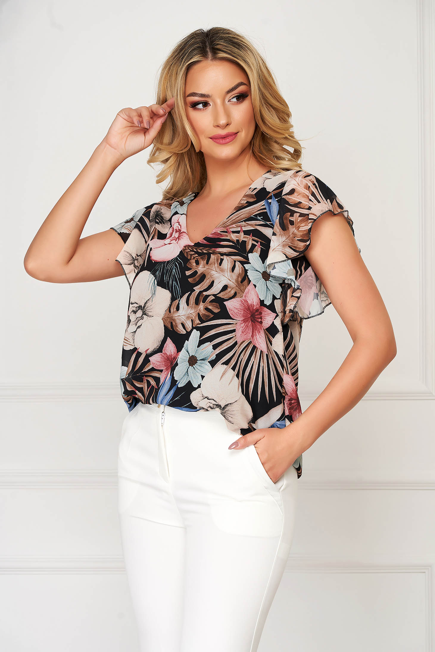 Black women`s blouse casual short cut flared with ruffled sleeves