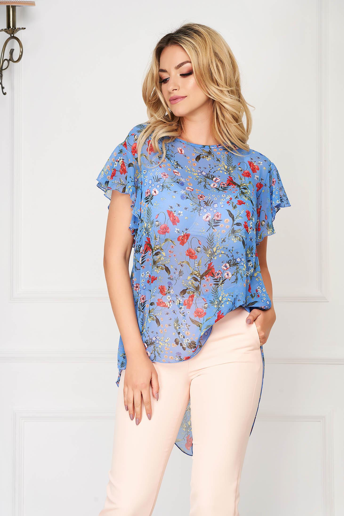 StarShinerS women`s blouse elegant asymmetrical flared blue from veil fabric