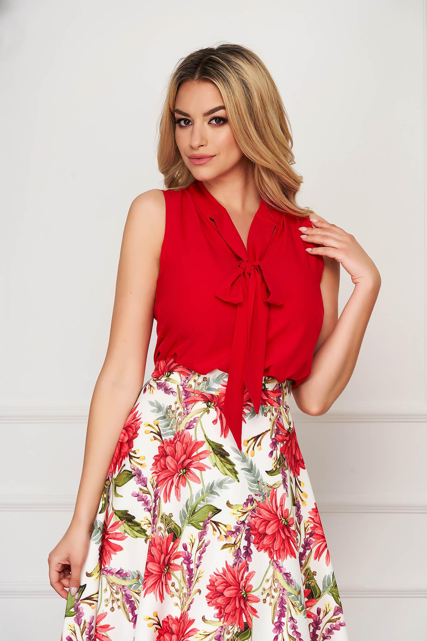 Bluza dama StarShinerS rosie eleganta cu croi larg din material super soft fara maneci