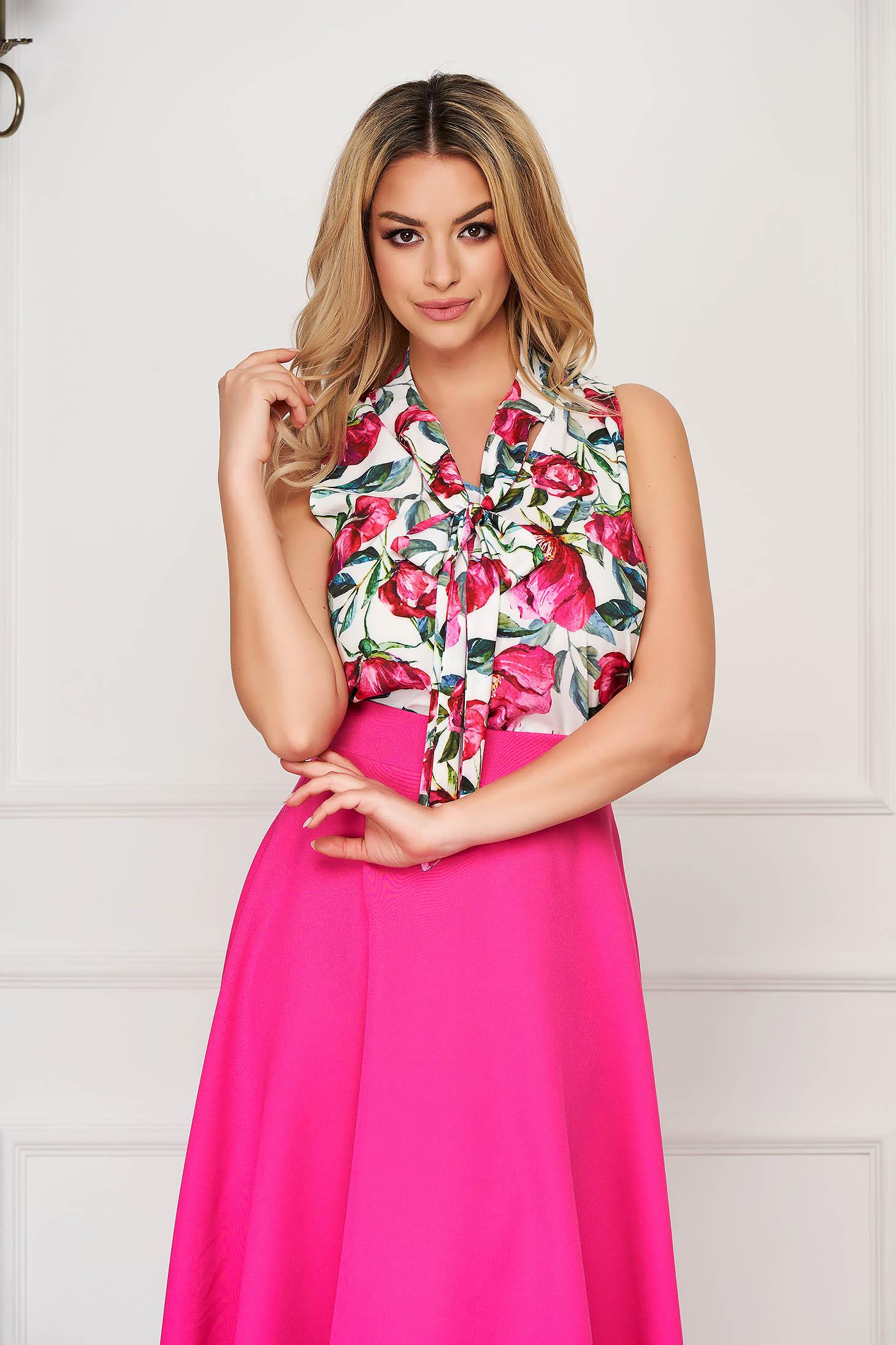 Bluza dama StarShinerS roz eleganta cu croi larg fara maneci din material subtire silky