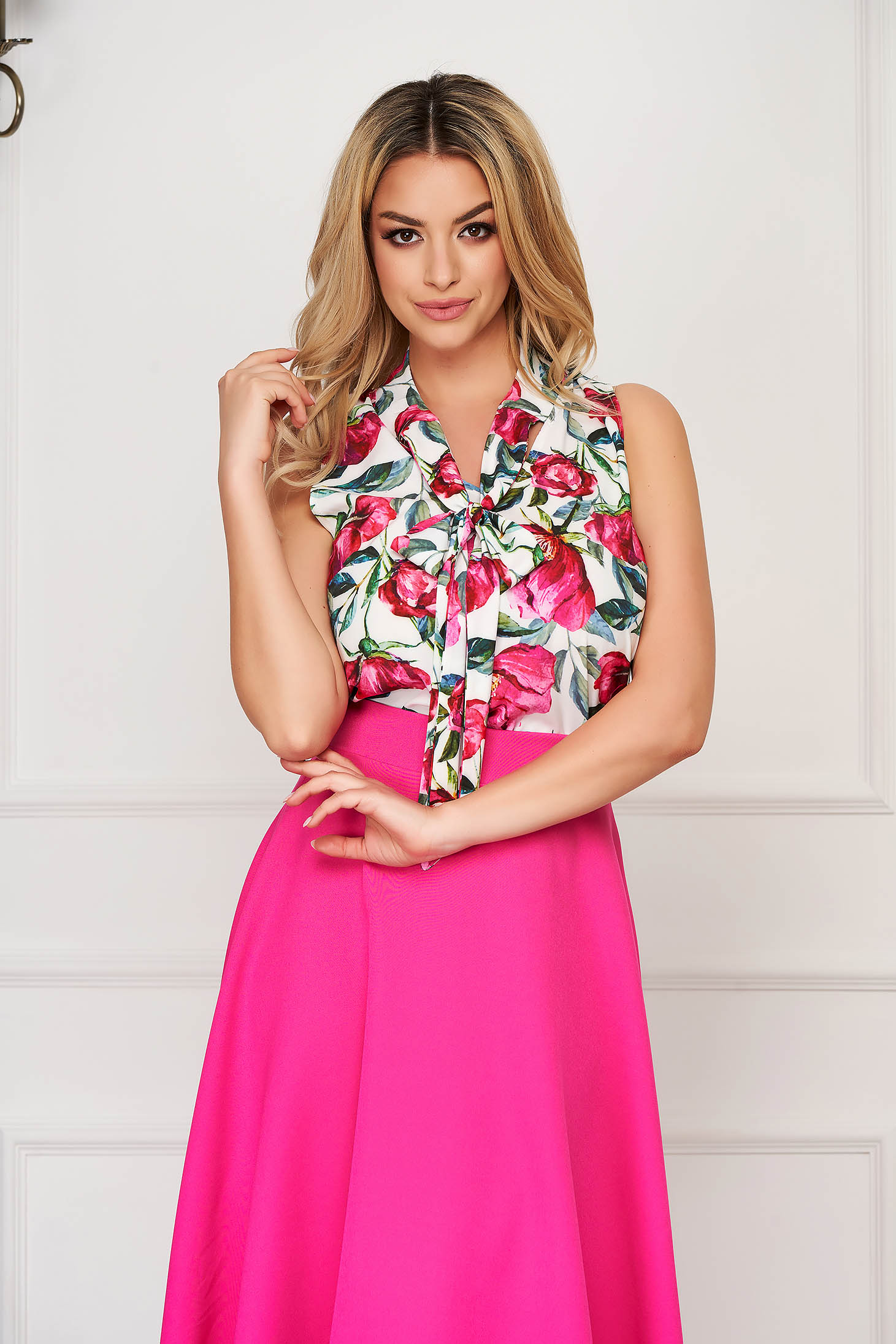 StarShinerS pink women`s blouse elegant flared sleeveless thin fabric