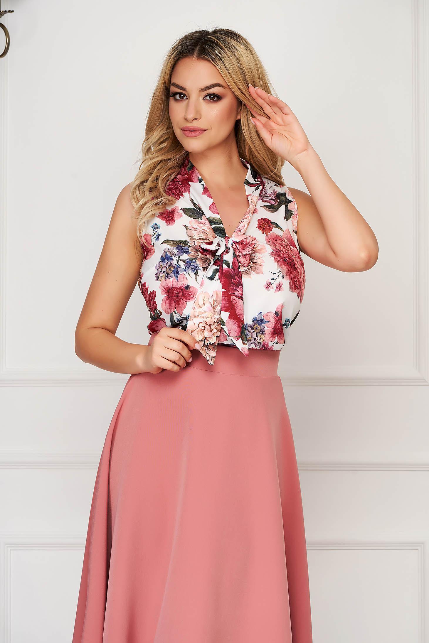 StarShinerS white women`s blouse elegant flared sleeveless thin fabric