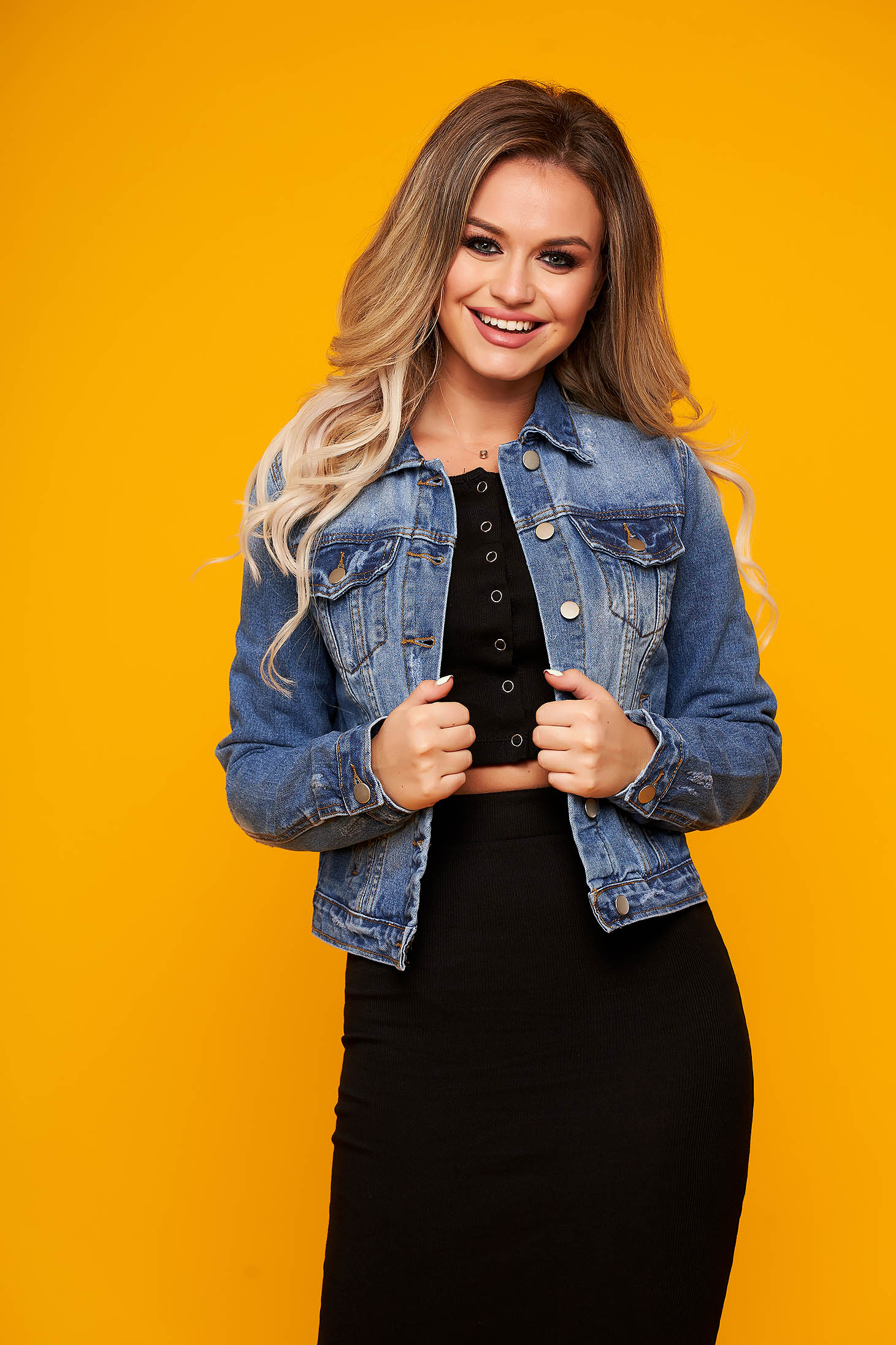 Blue jacket casual denim with pockets prewashed fabric
