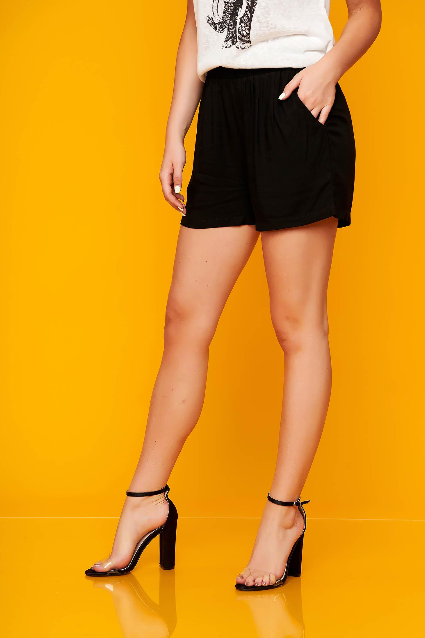 Fekete casual bő szabású magas derekú rövidnadrág zsebekkel