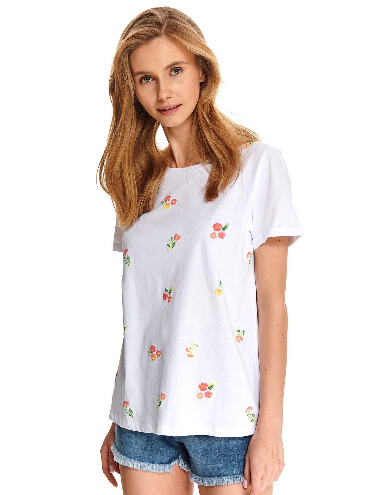 Tricou Top Secret alb casual din bumbac cu croi larg si flori brodate