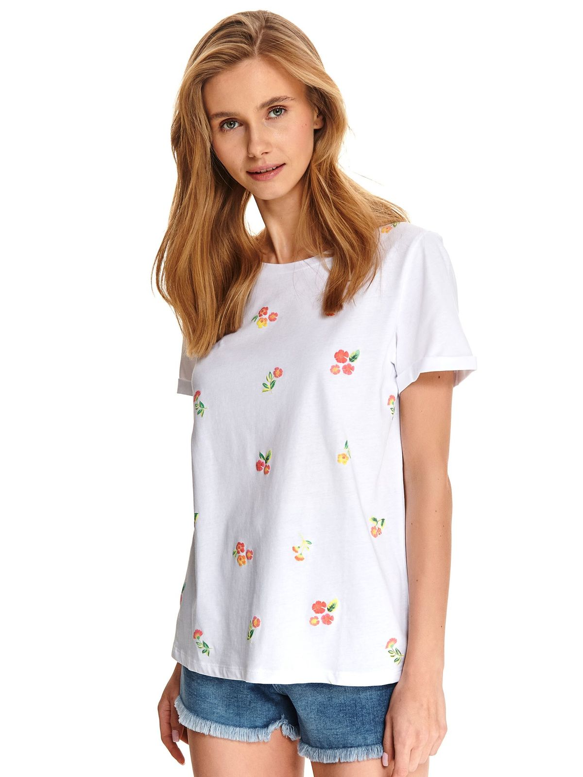 White t-shirt casual cotton flared embroidered