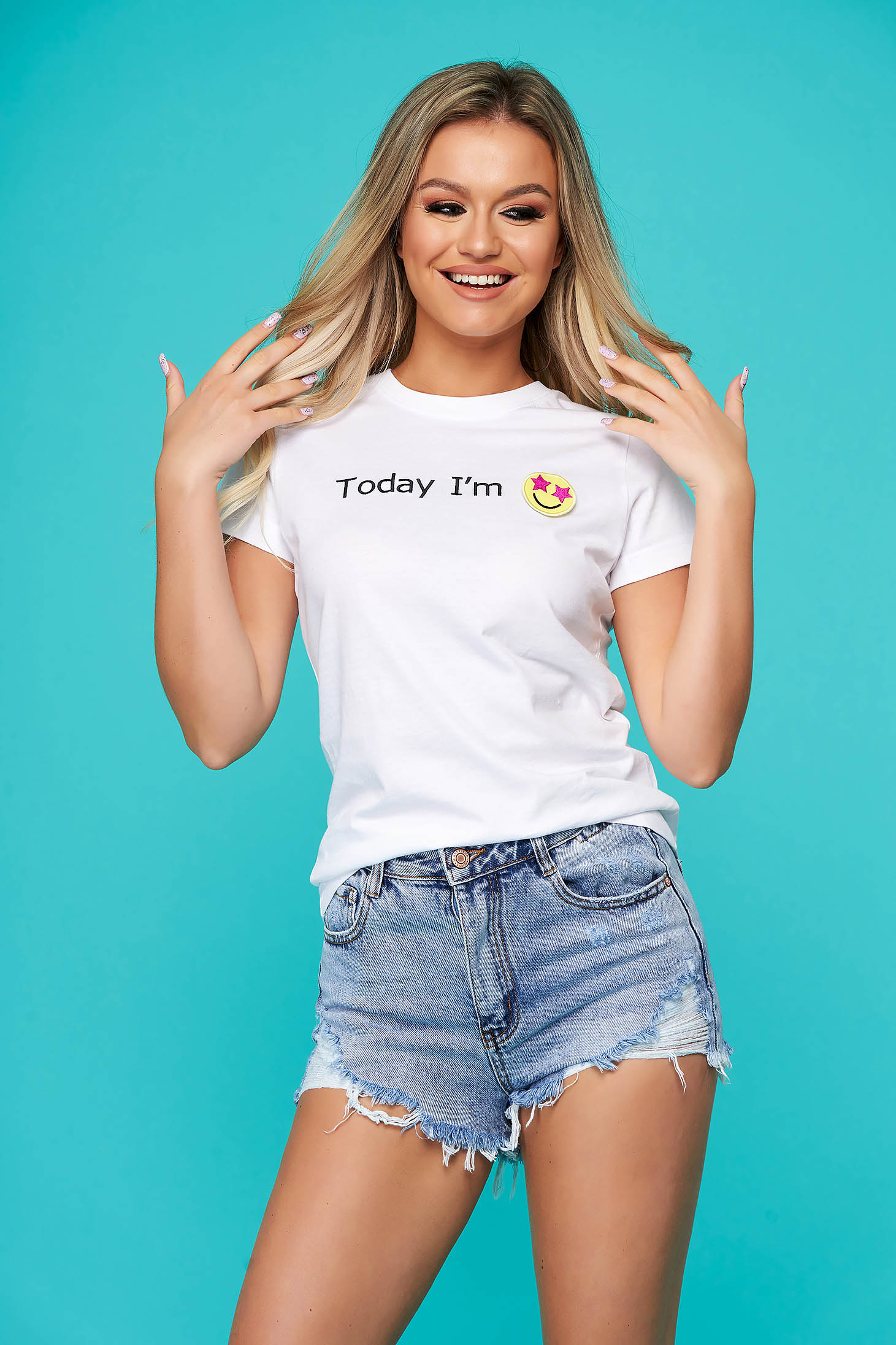 StarShinerS white casual cotton flared t-shirt texted embroidered