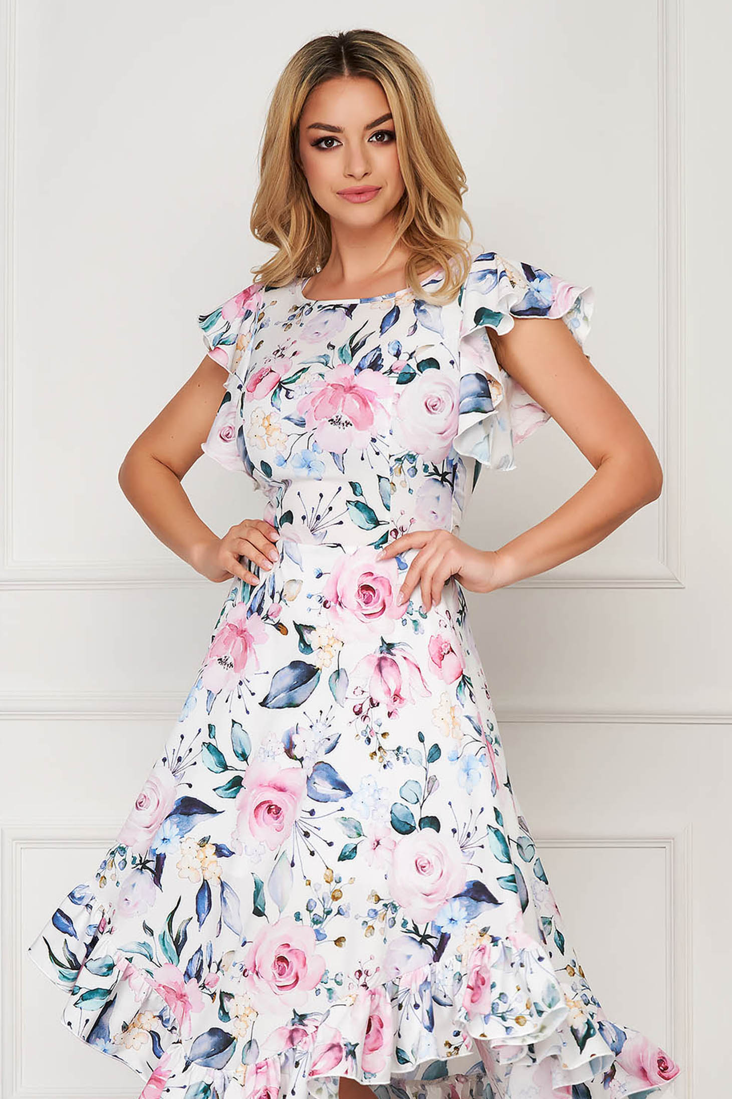 StarShinerS white dress elegant midi cloche with ruffle details from soft fabric