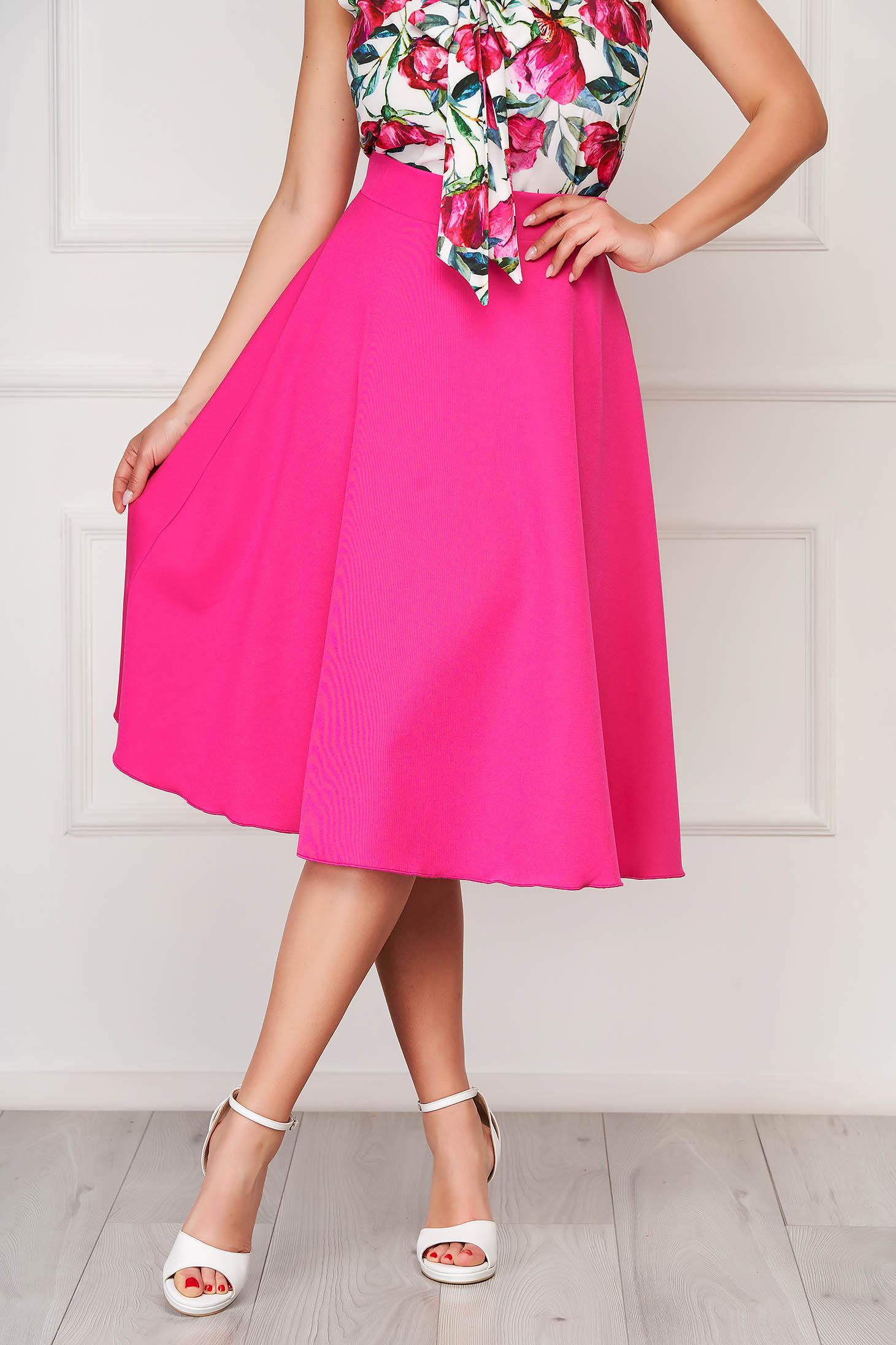 Fusta StarShinerS roz eleganta midi in clos din stofa fara captuseala