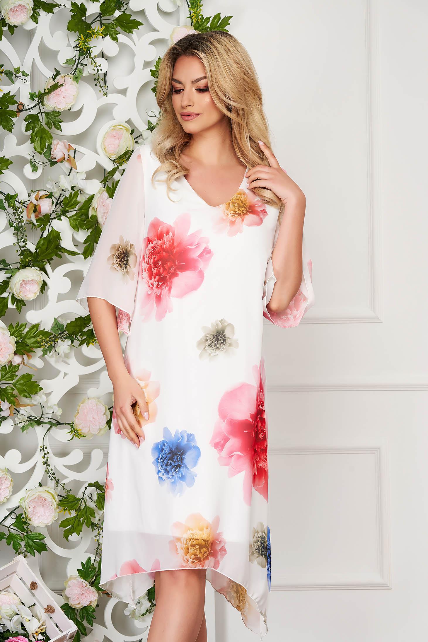 StarShinerS white dress elegant midi straight from veil fabric asymmetrical