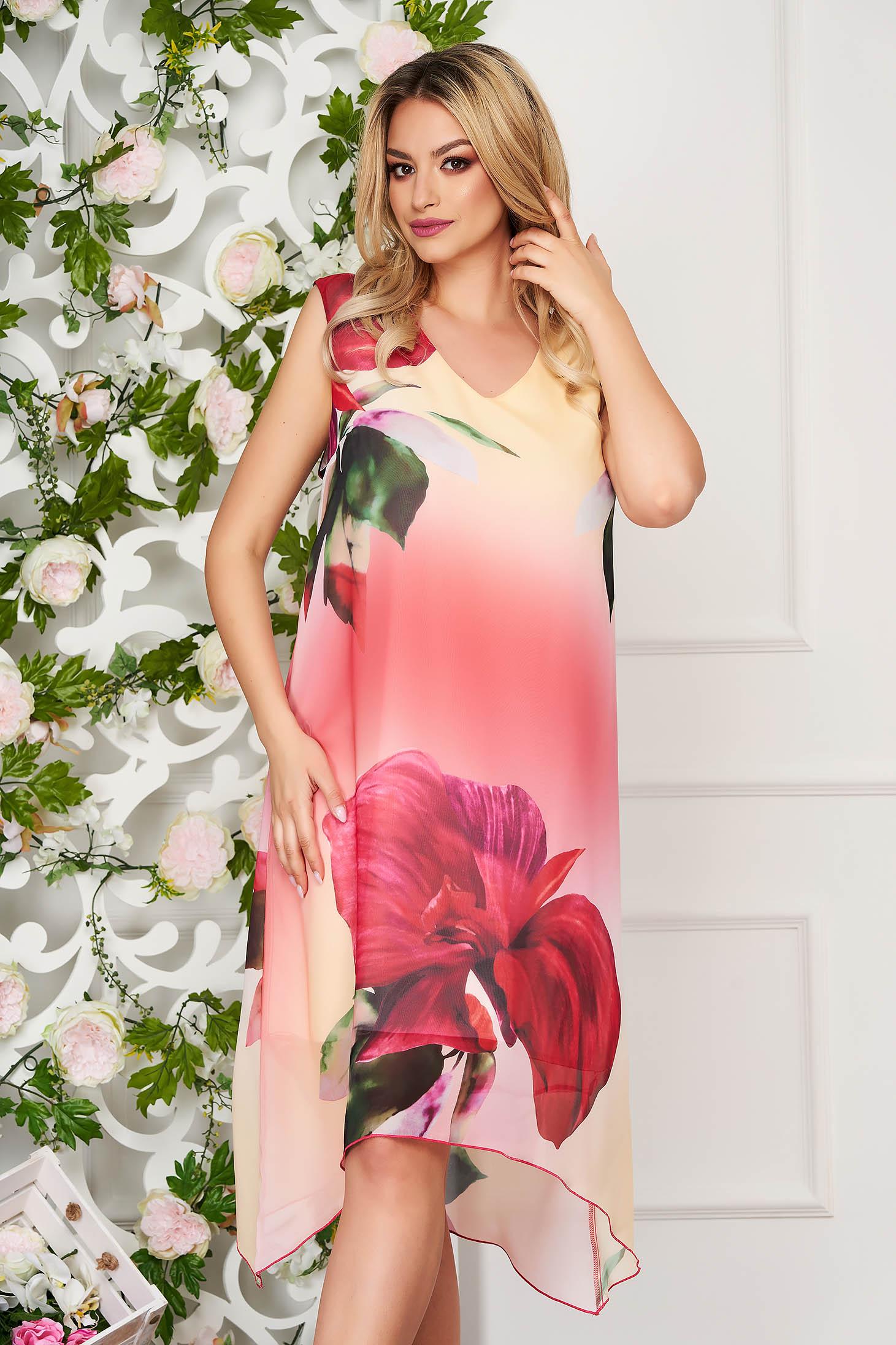StarShinerS red dress daily midi straight asymmetrical from veil fabric sleeveless