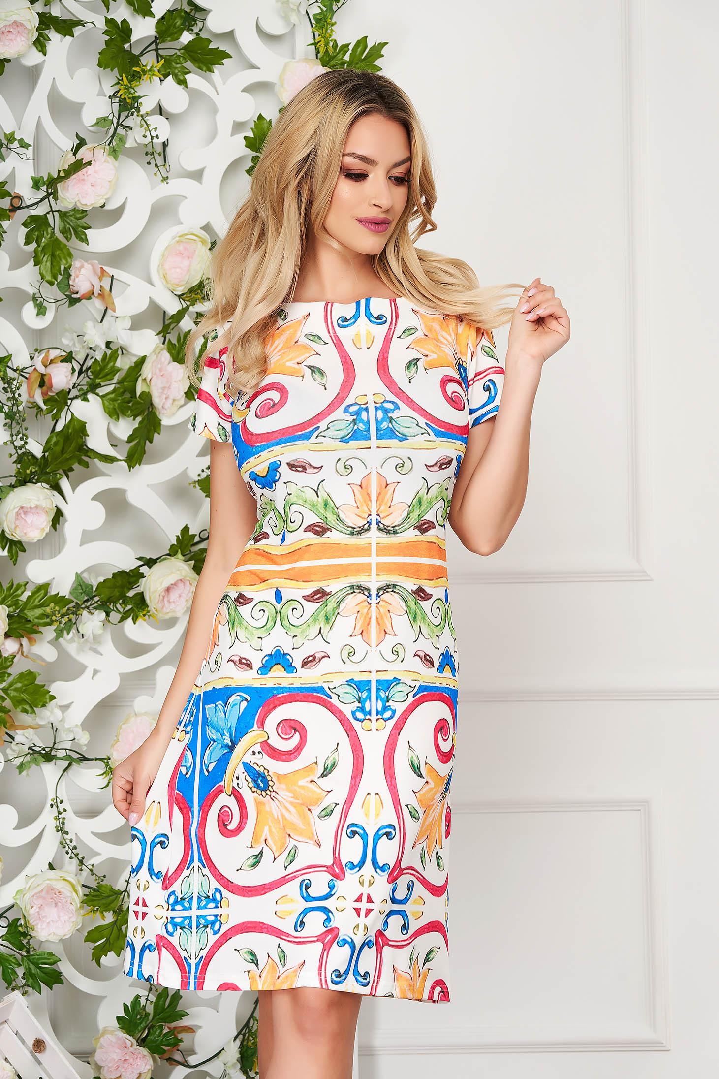 StarShinerS white dress elegant midi a-line short sleeves