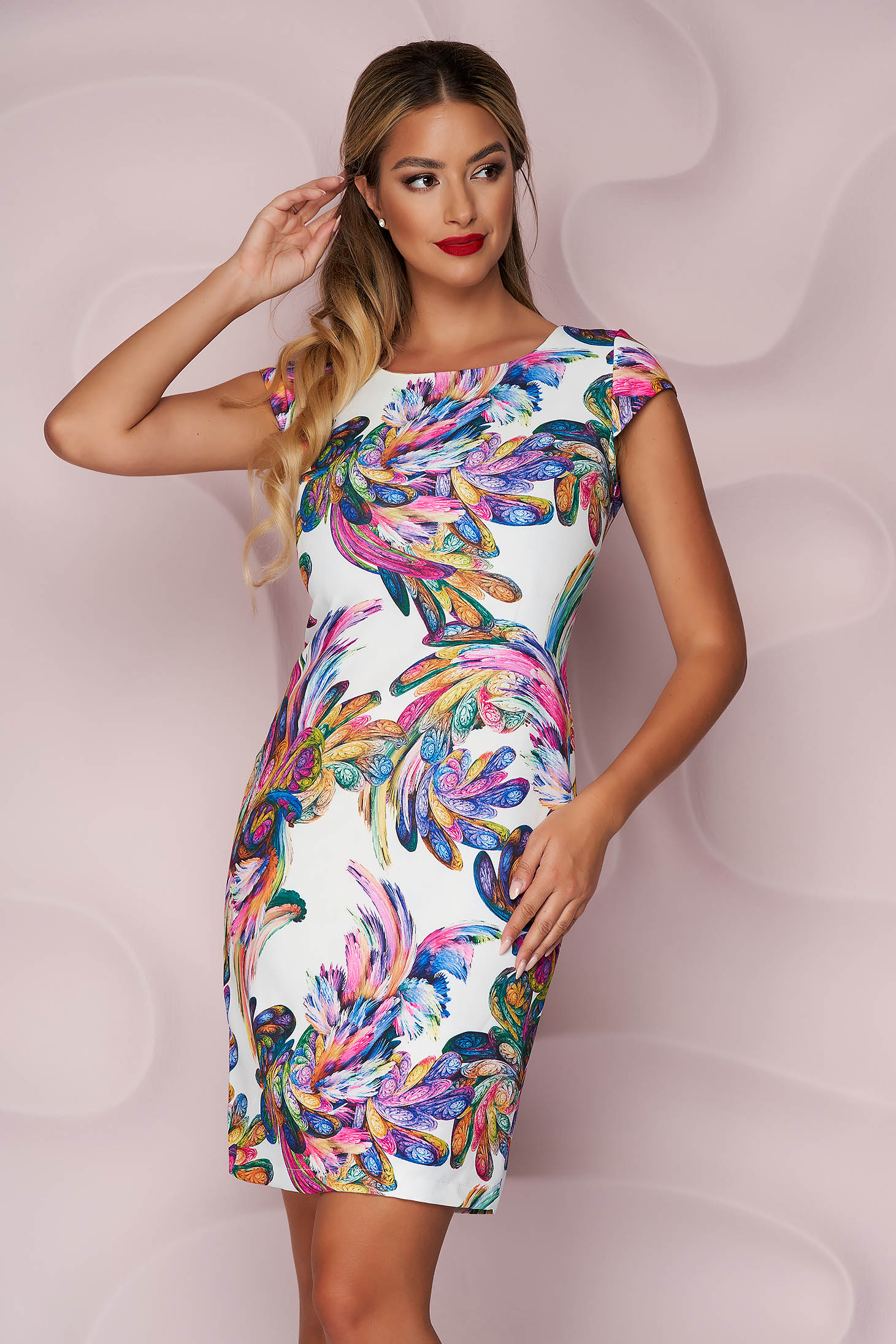 StarShinerS dress elegant short cut thin fabric short sleeves with floral print