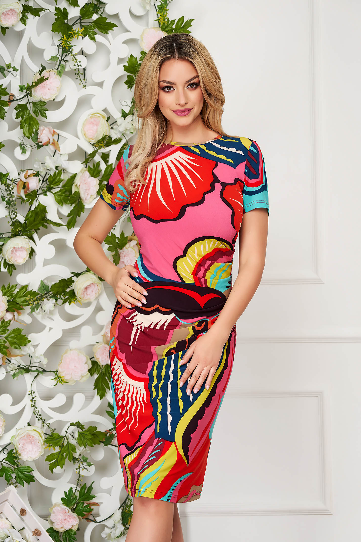Rochie StarShinerS rosie office midi tip creion din material elastic