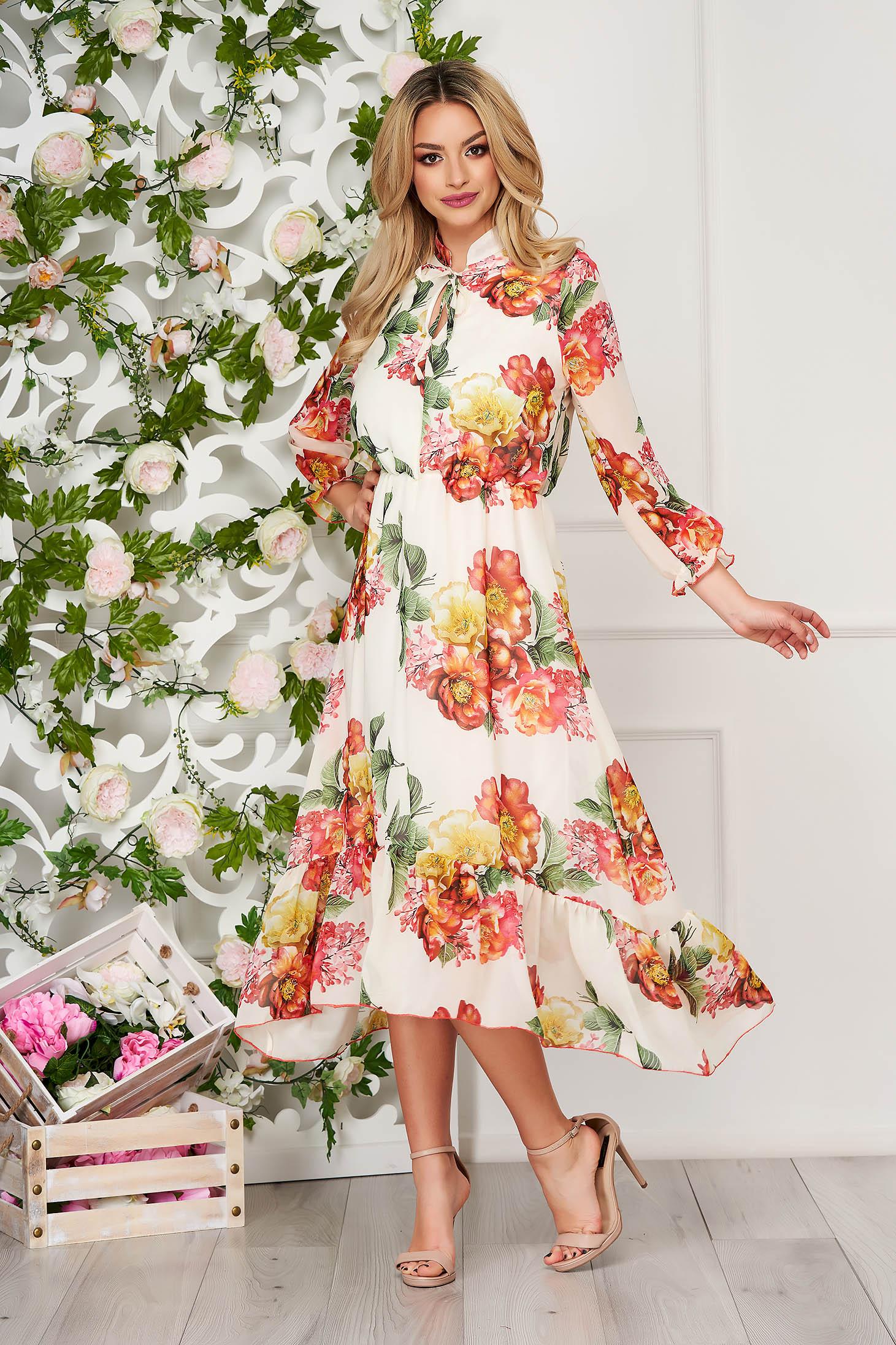StarShinerS cream dress elegant daily midi cloche asymmetrical from veil fabric long sleeved