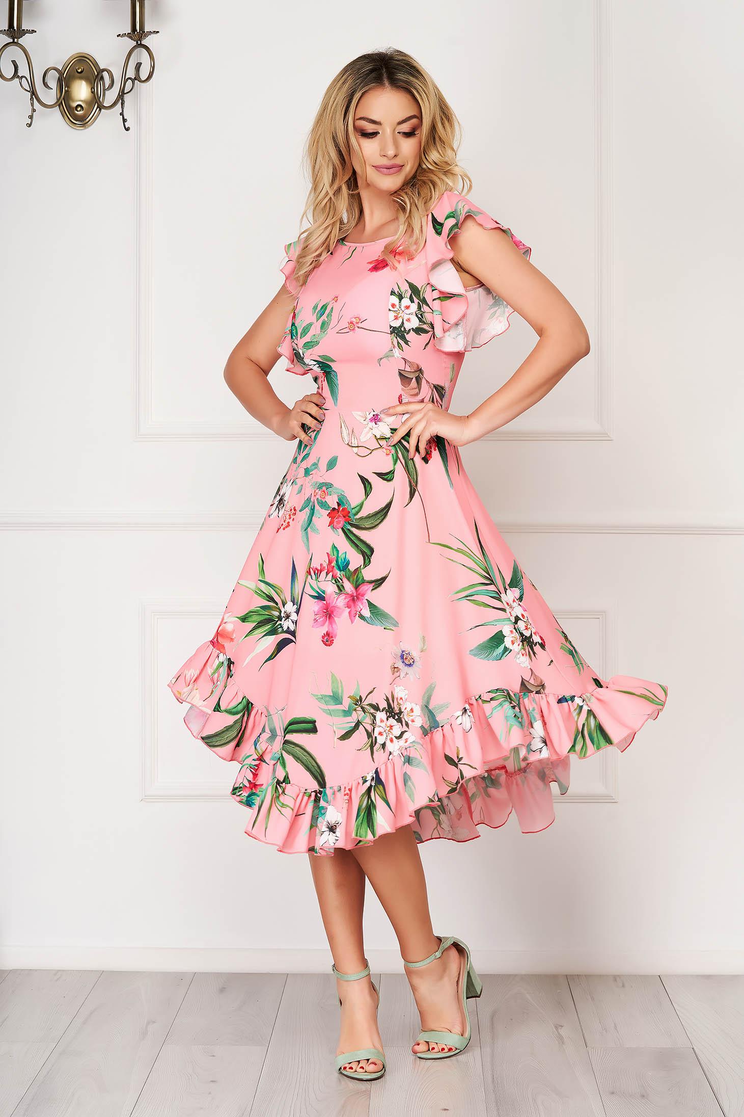 Világos rózsaszínű StarShinerS puha anyagból midi fodros harang ruha elegáns