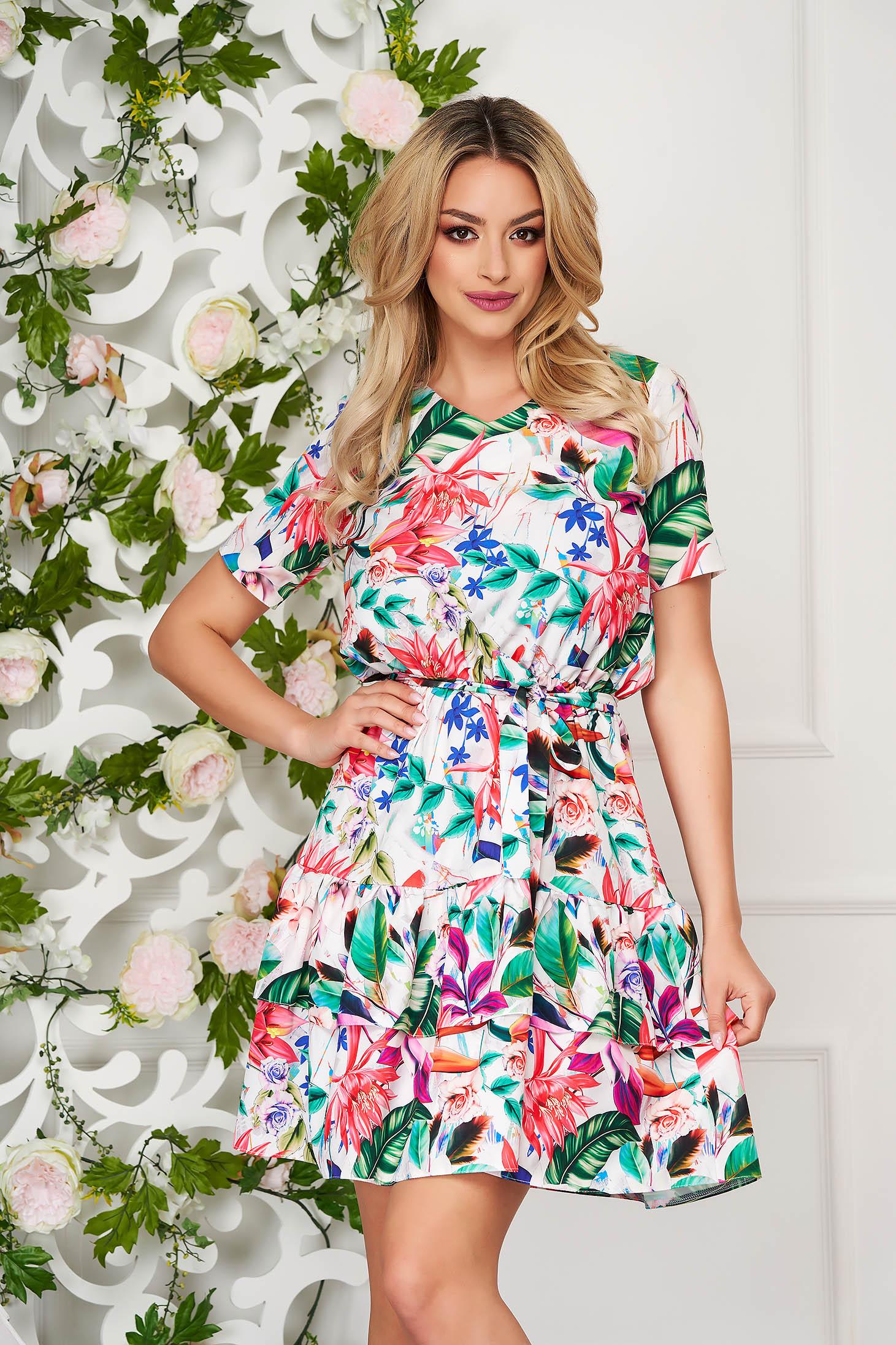 StarShinerS white dress short cut daily cloche thin fabric short sleeves
